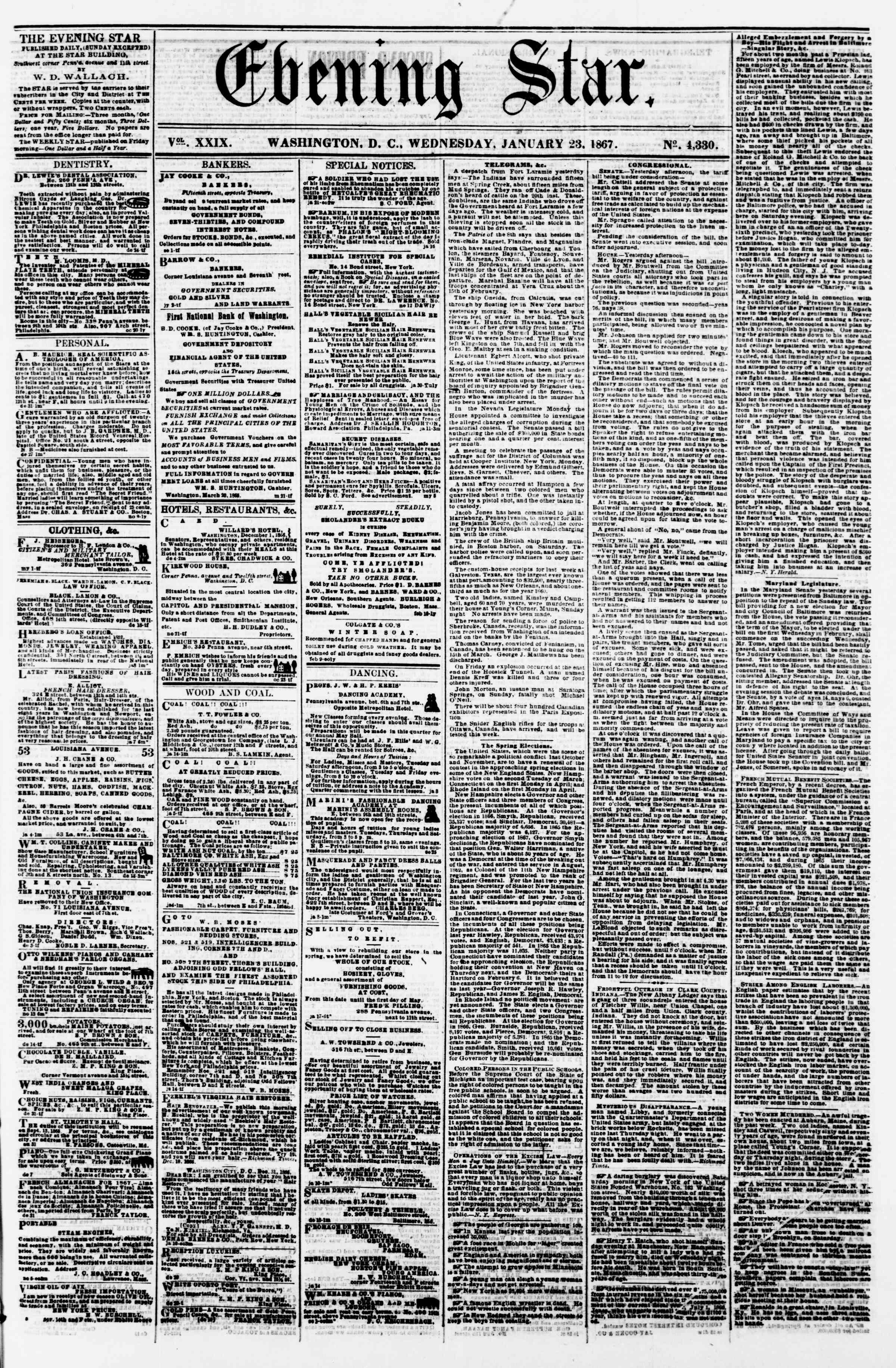 Newspaper of Evening Star dated January 23, 1867 Page 1