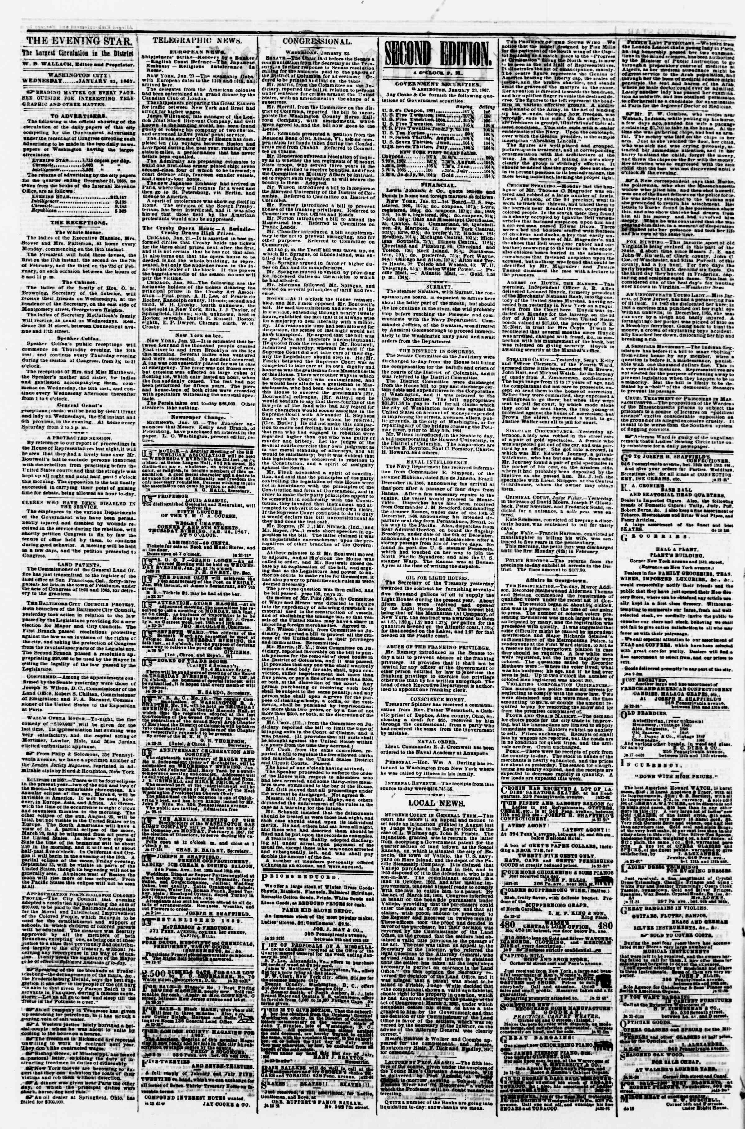 Newspaper of Evening Star dated 23 Ocak 1867 Page 2