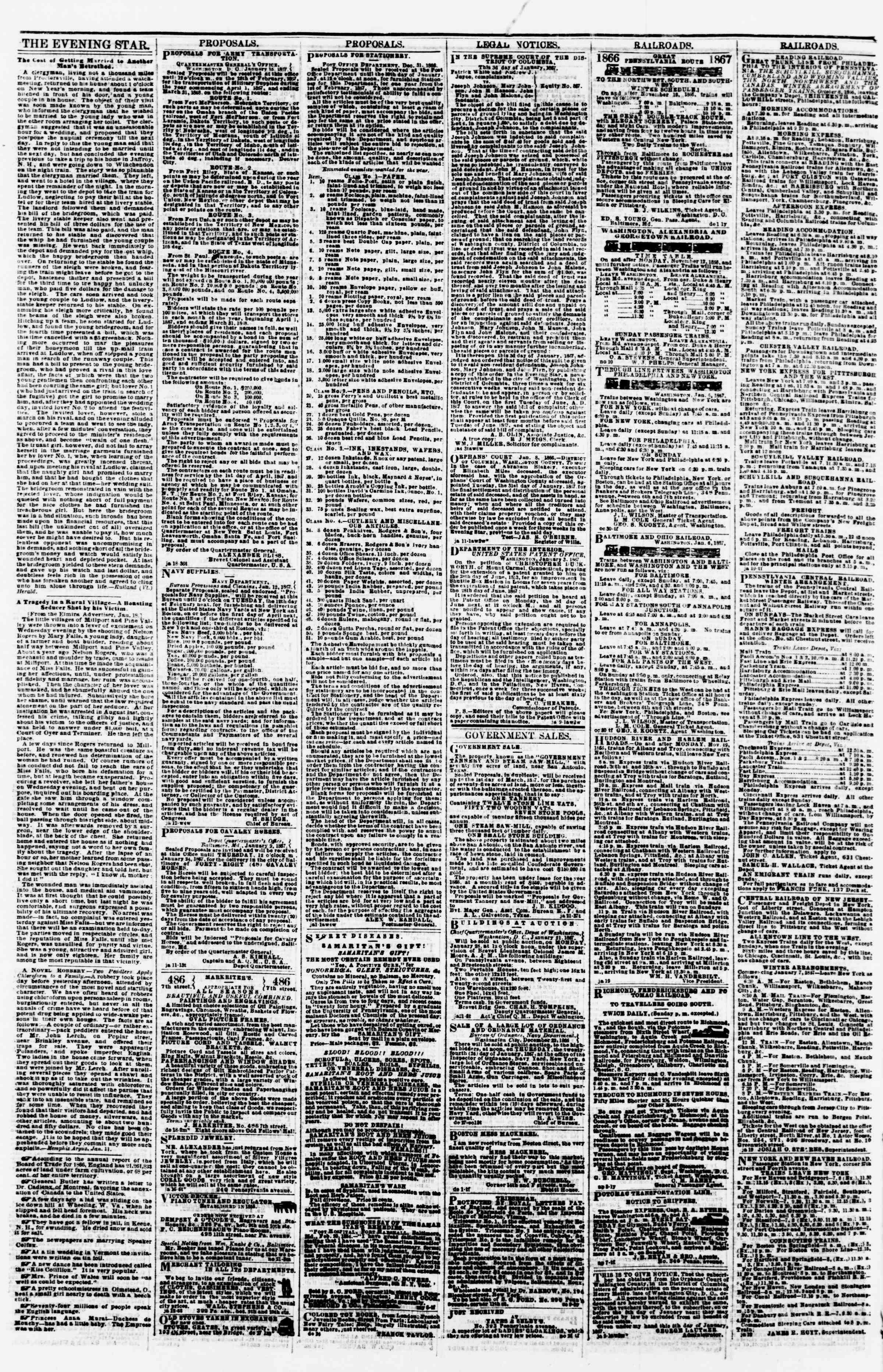 Newspaper of Evening Star dated January 23, 1867 Page 4