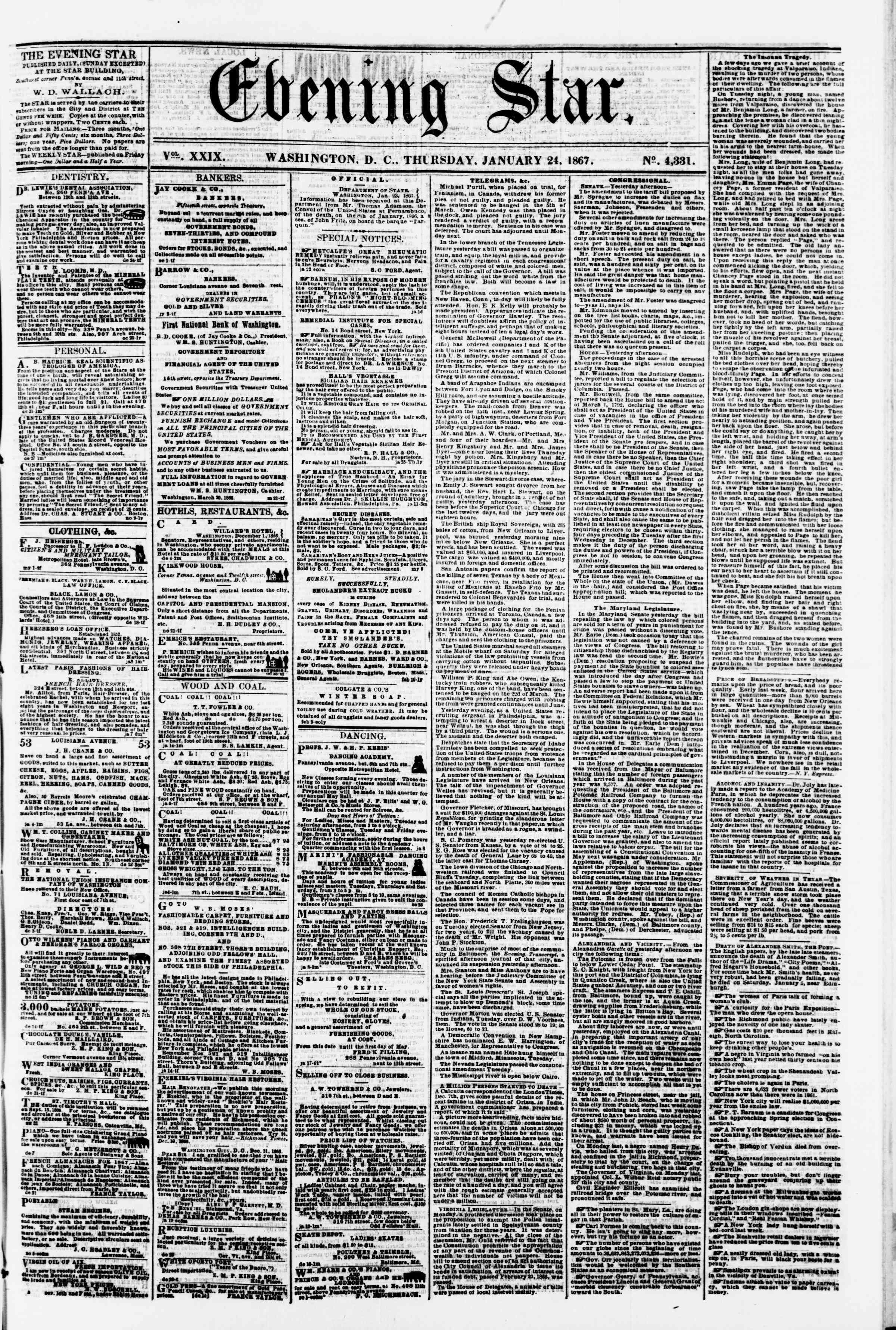 Newspaper of Evening Star dated January 24, 1867 Page 1