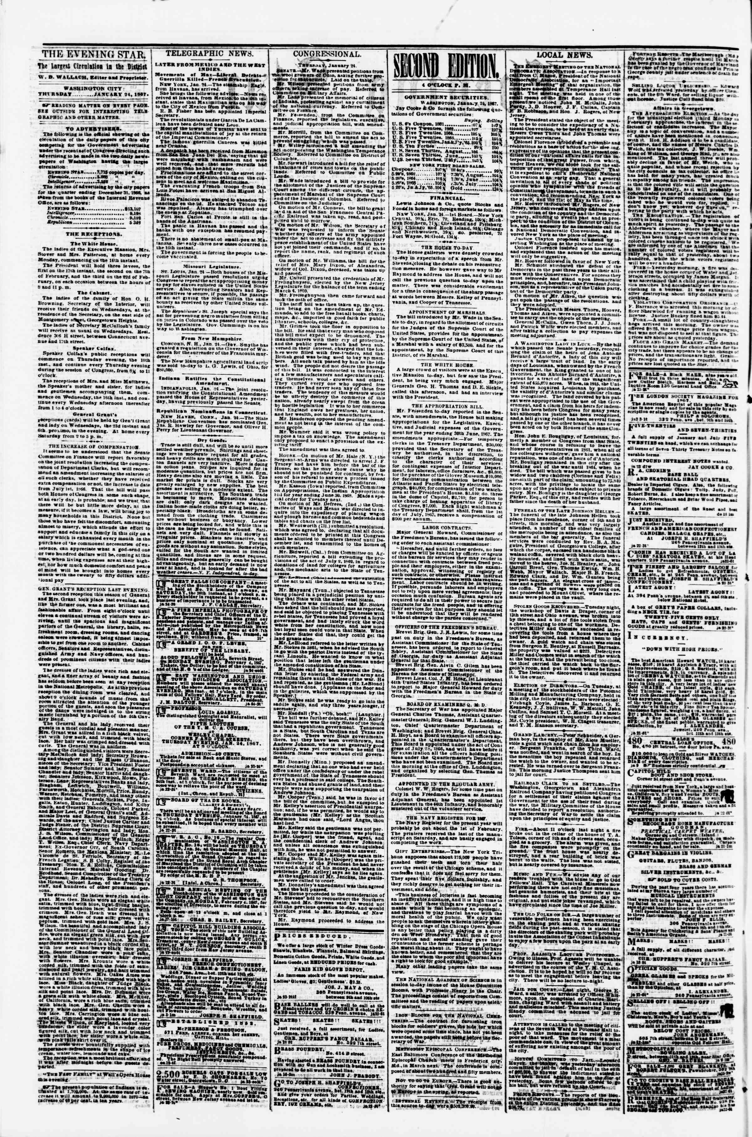 Newspaper of Evening Star dated January 24, 1867 Page 2