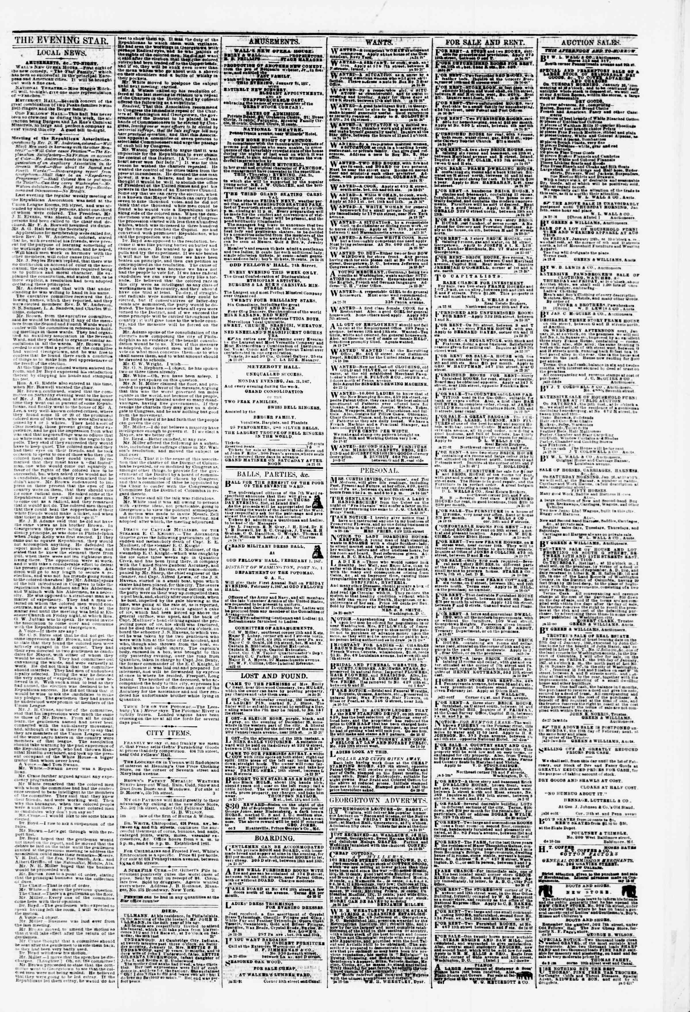 Newspaper of Evening Star dated January 24, 1867 Page 3