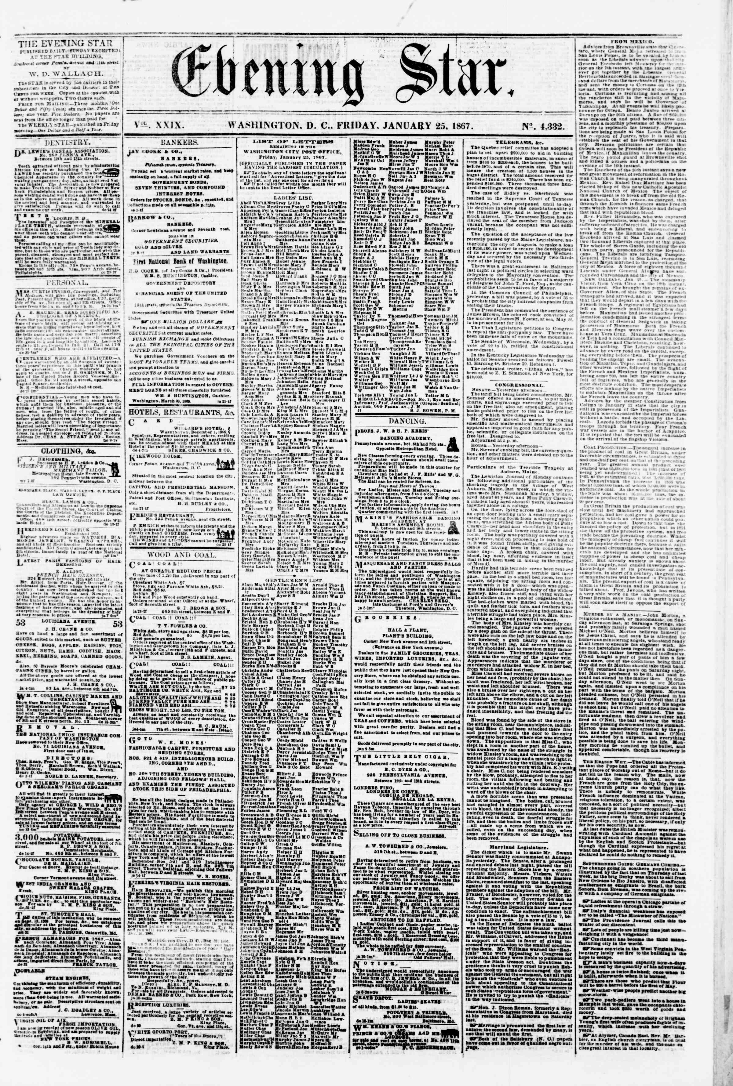 Newspaper of Evening Star dated January 25, 1867 Page 1