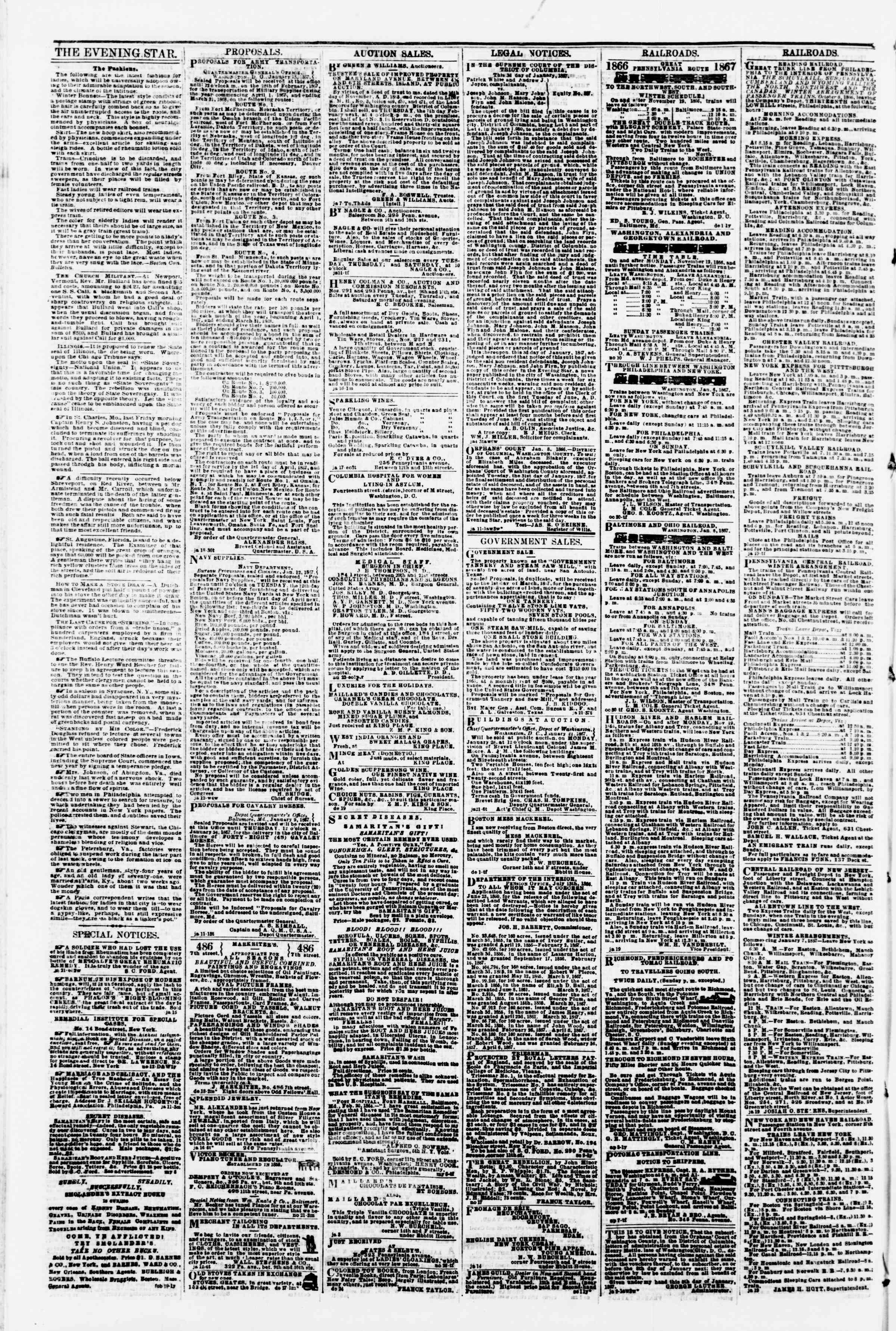 Newspaper of Evening Star dated January 25, 1867 Page 4