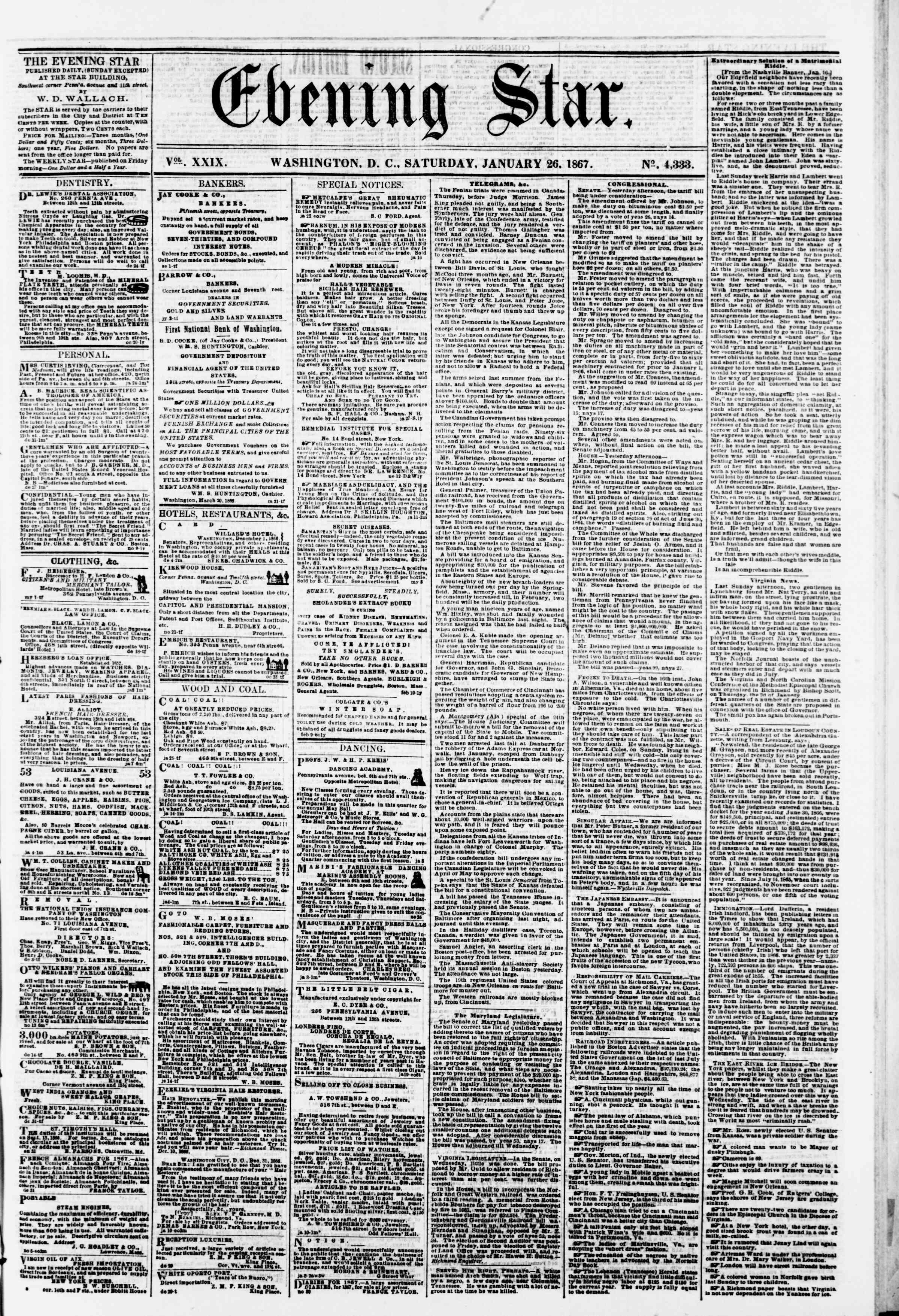 Newspaper of Evening Star dated 26 Ocak 1867 Page 1