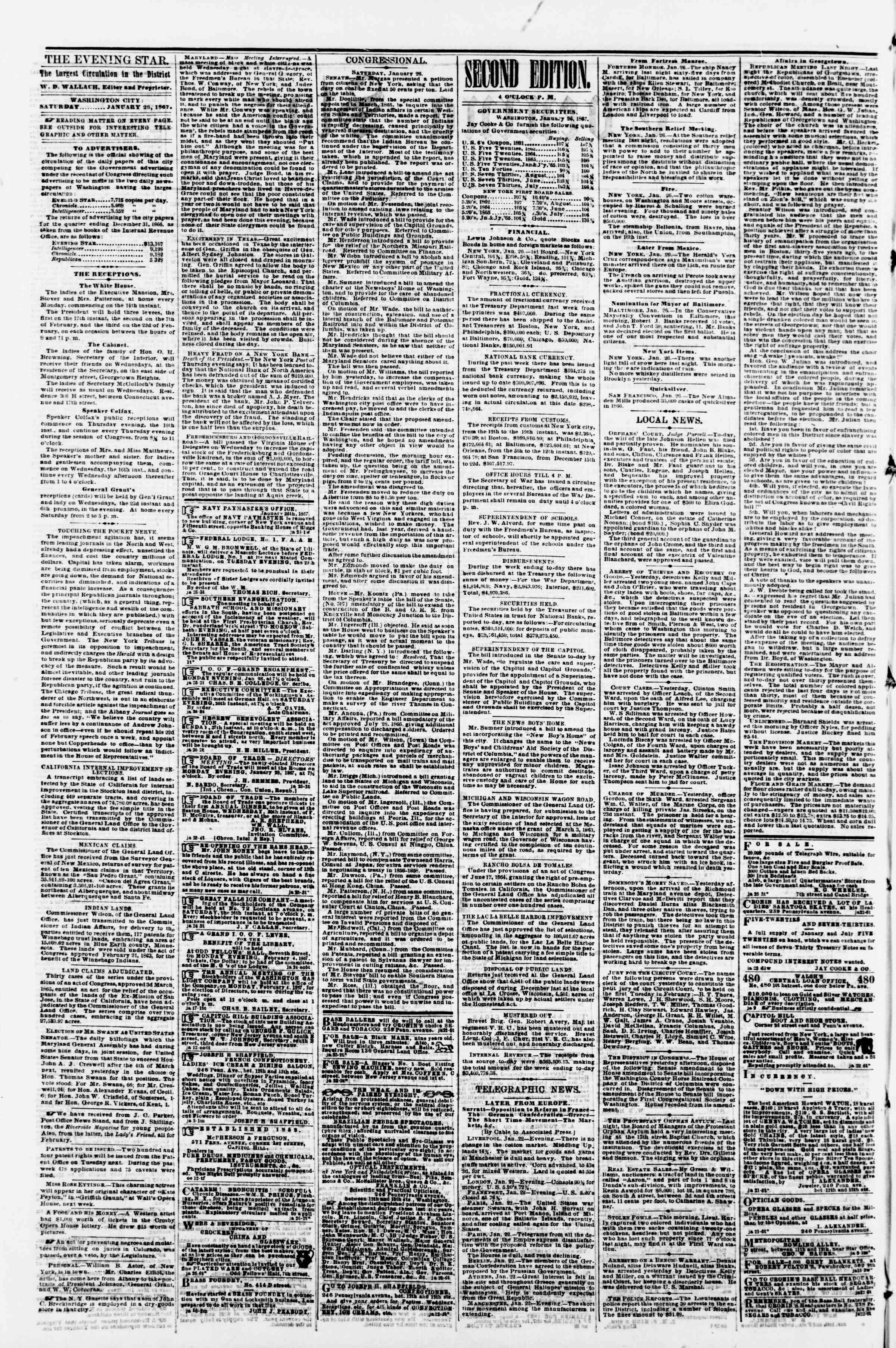 Newspaper of Evening Star dated January 26, 1867 Page 2