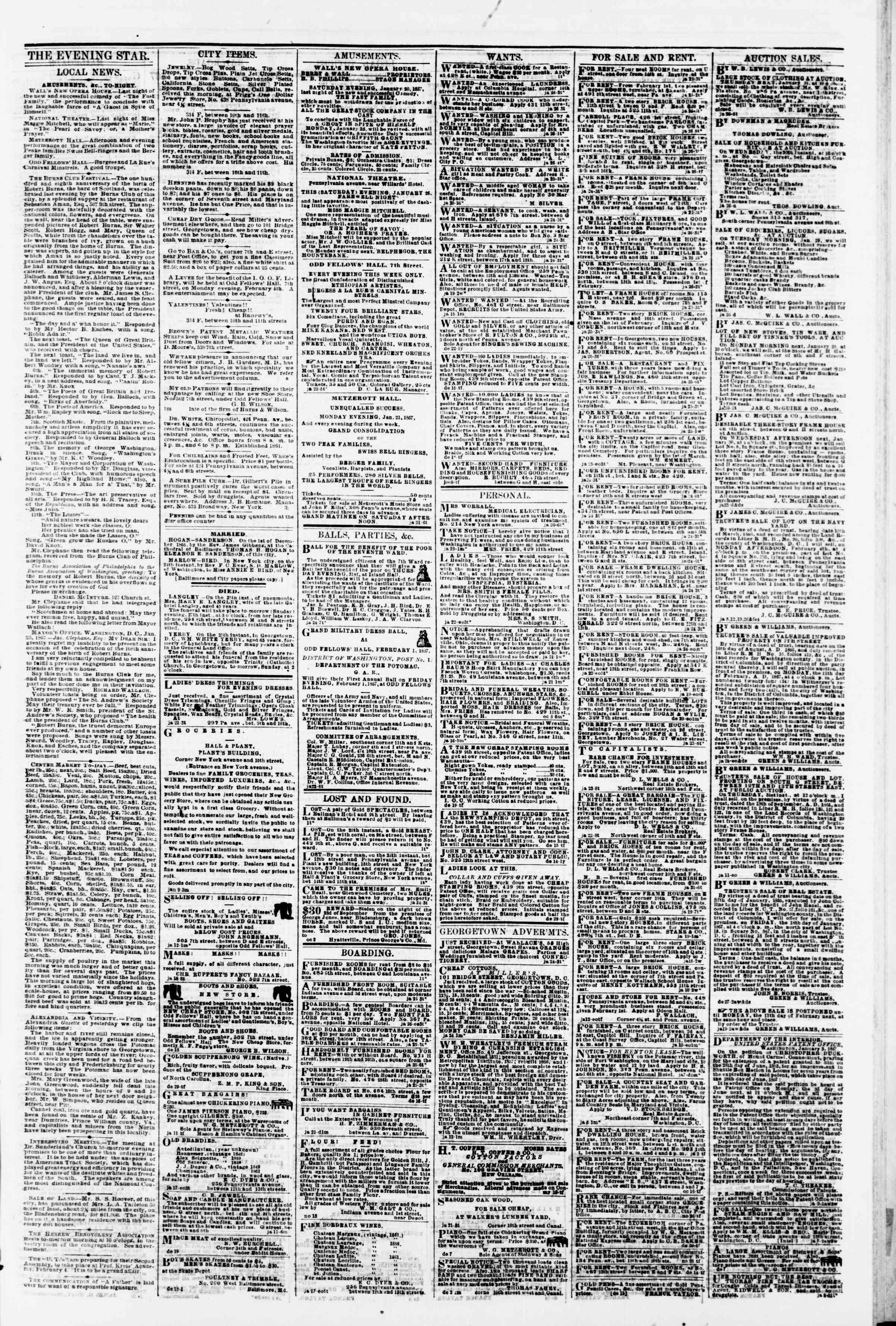 Newspaper of Evening Star dated January 26, 1867 Page 3
