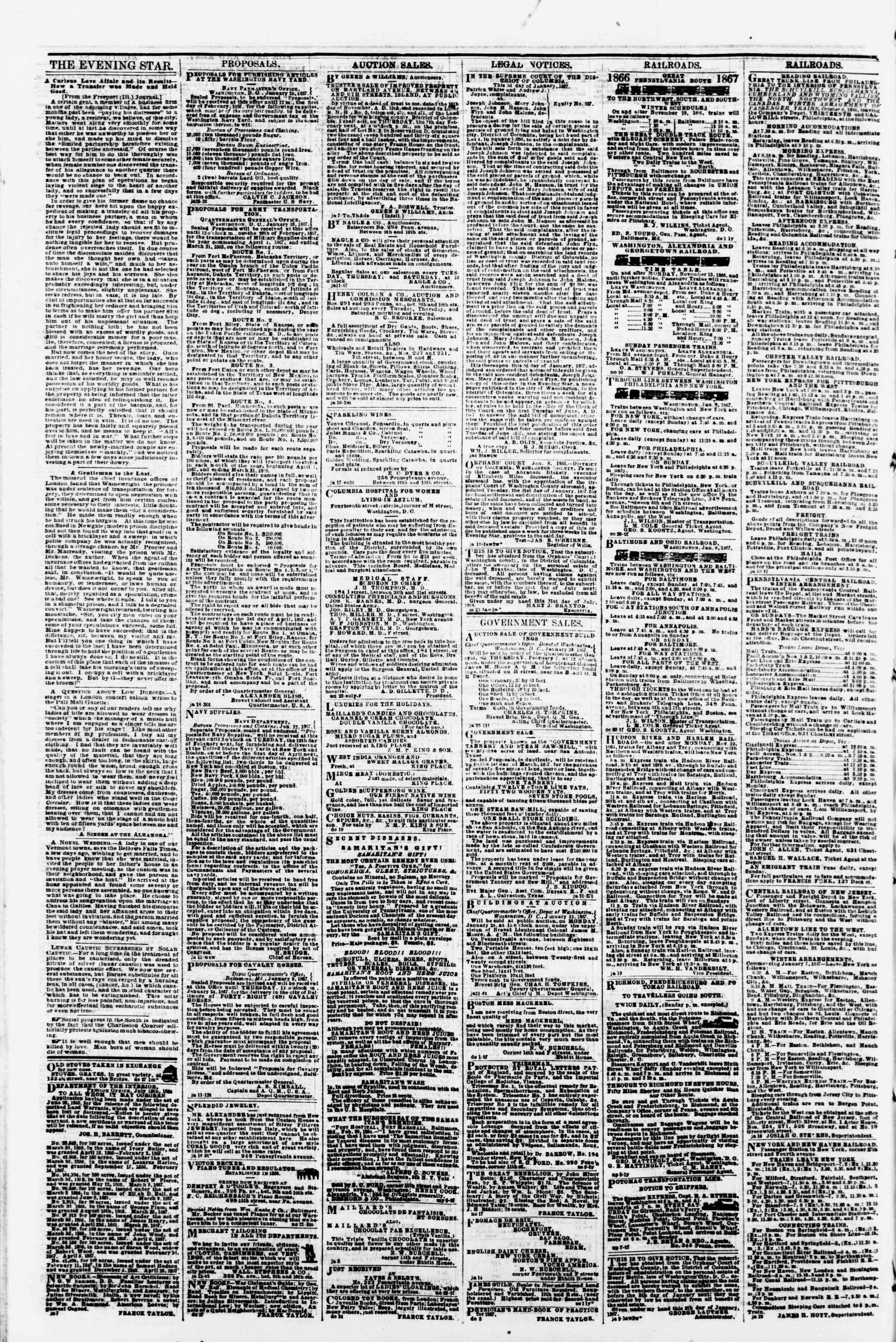 Newspaper of Evening Star dated January 26, 1867 Page 4