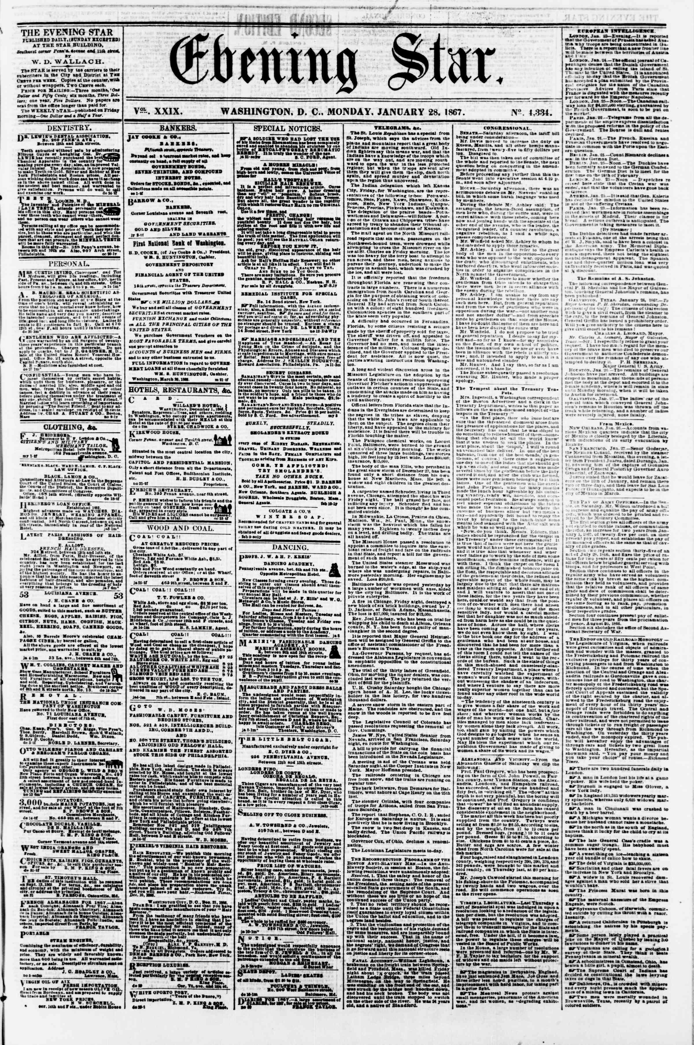 Newspaper of Evening Star dated 28 Ocak 1867 Page 1