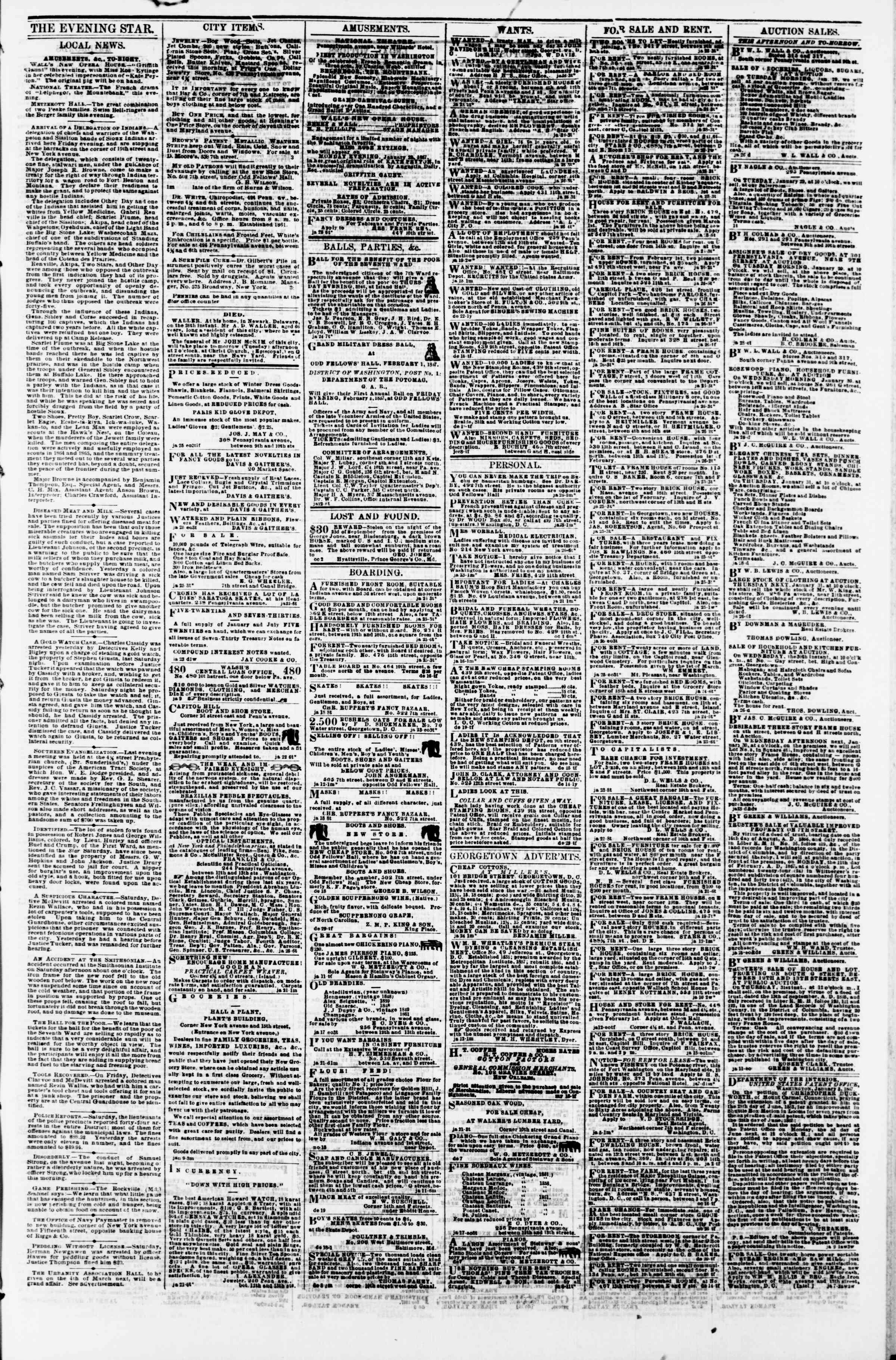 Newspaper of Evening Star dated January 28, 1867 Page 3
