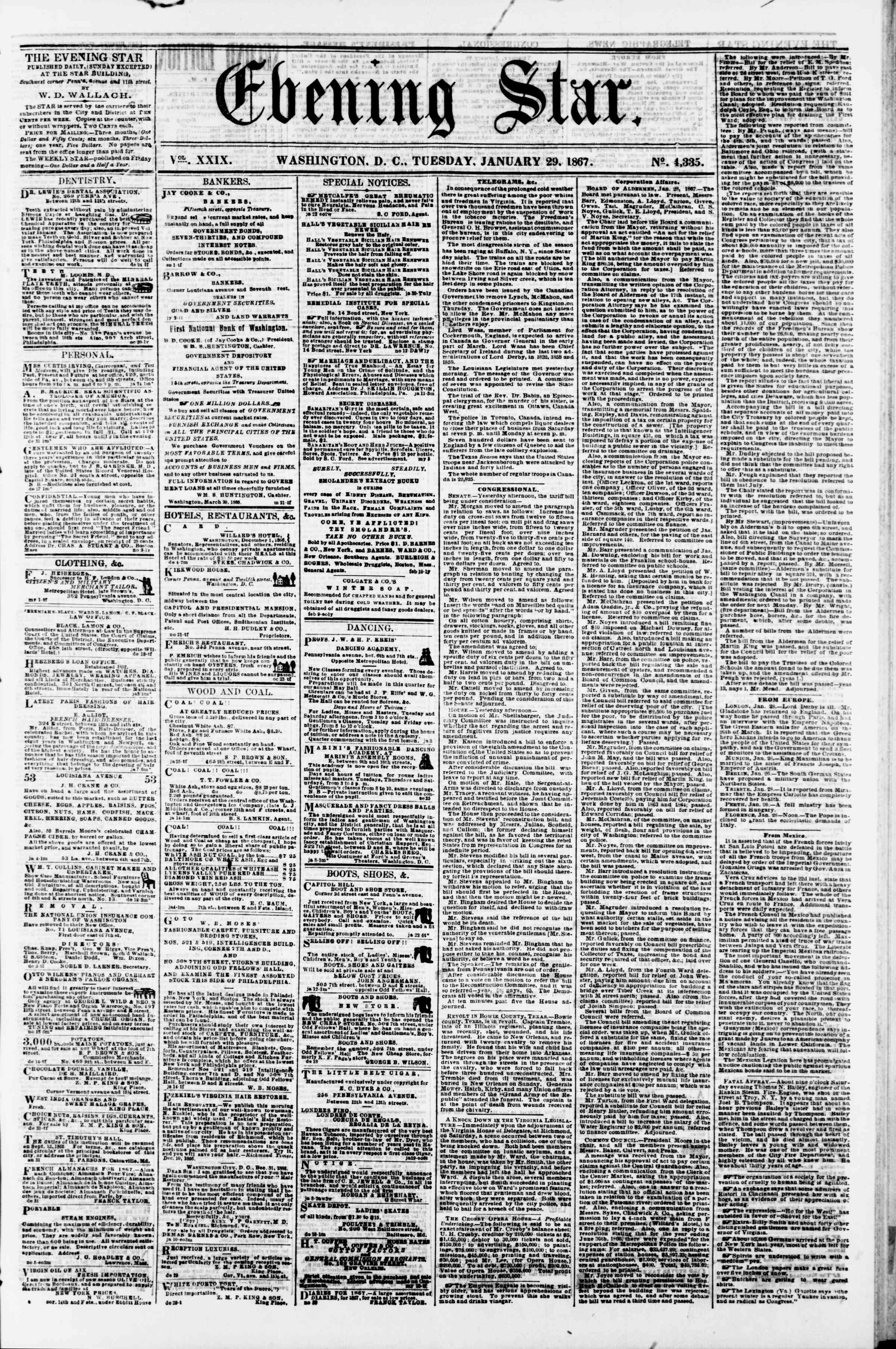 Newspaper of Evening Star dated January 29, 1867 Page 1