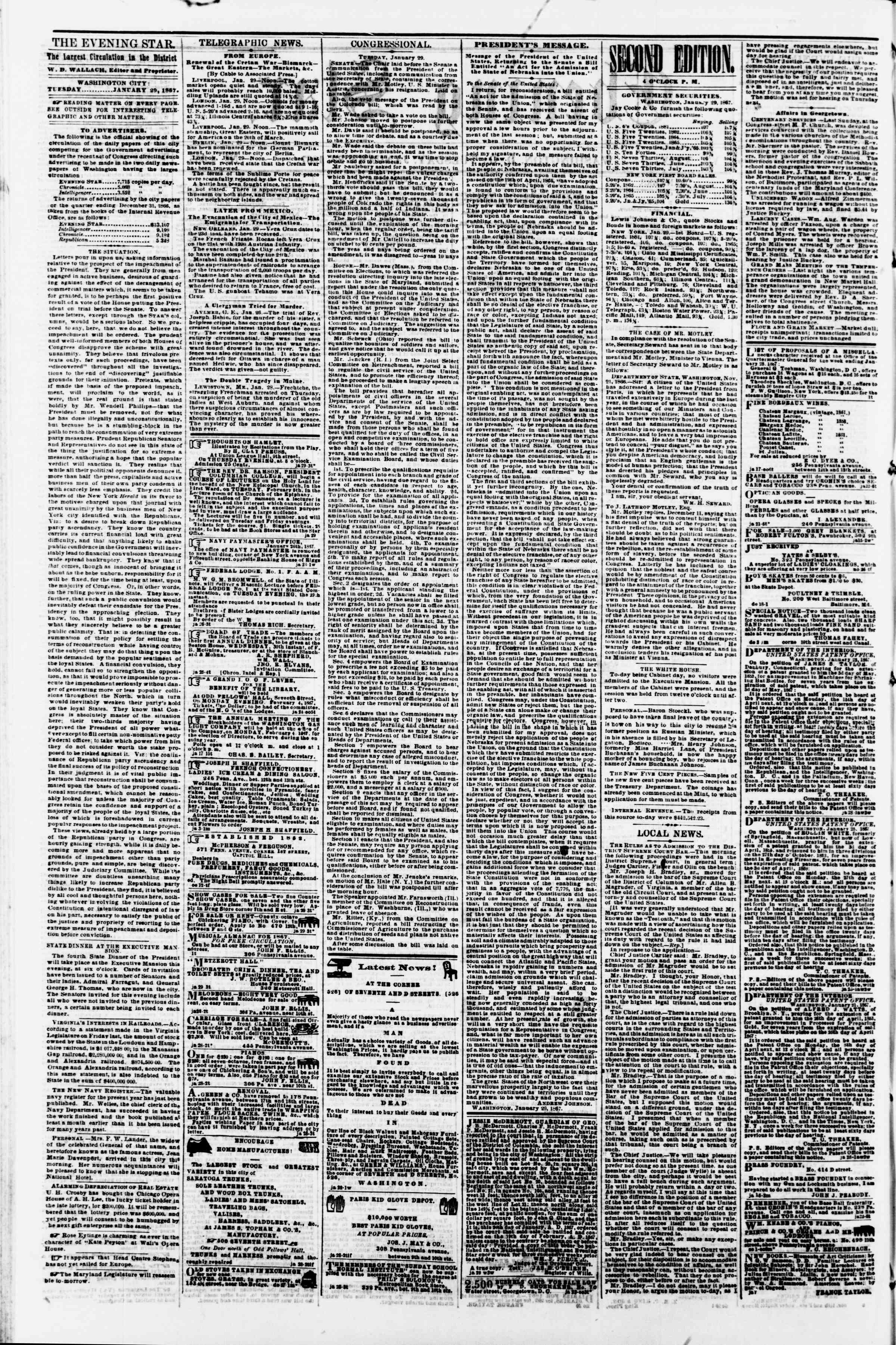 Newspaper of Evening Star dated January 29, 1867 Page 2