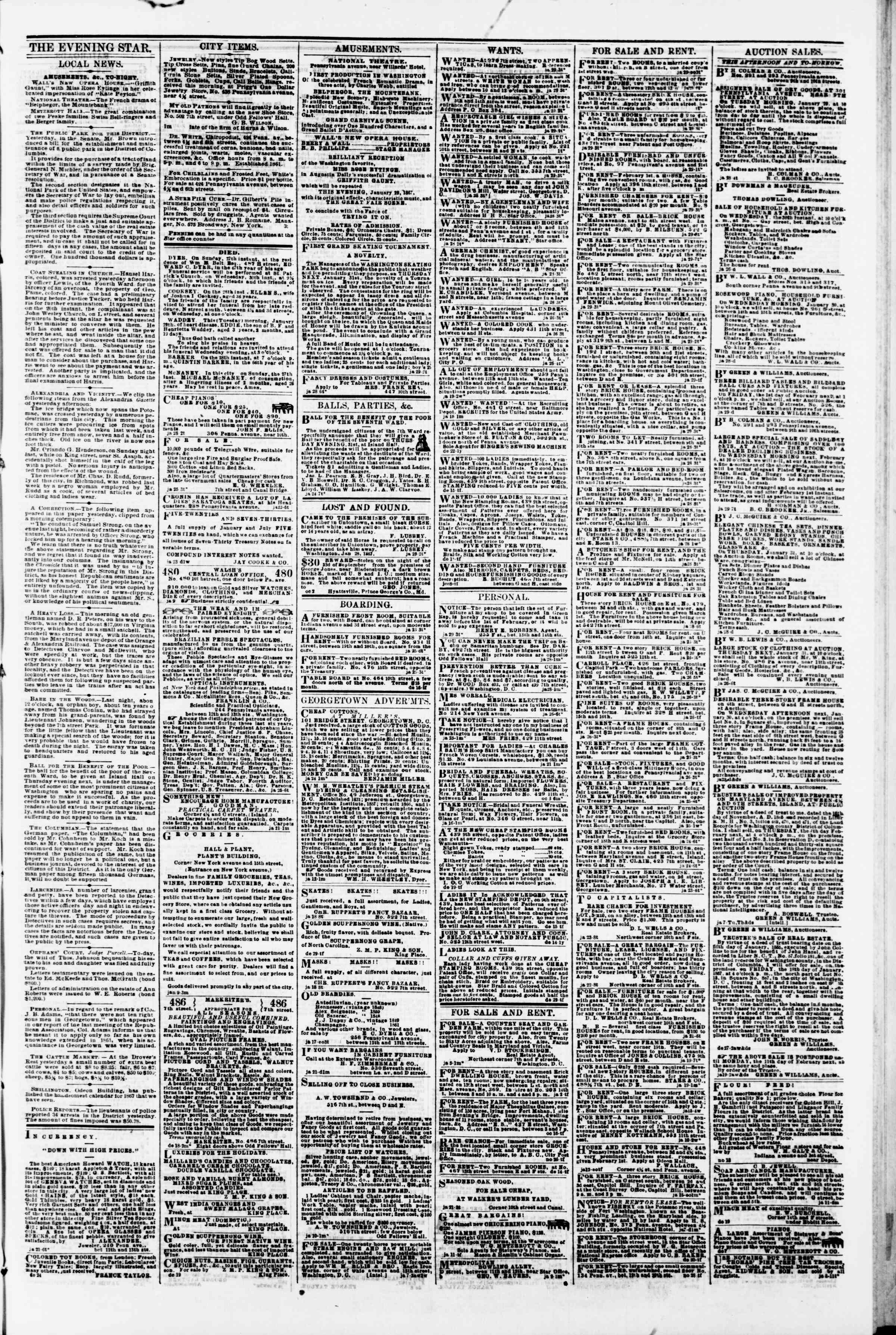 Newspaper of Evening Star dated January 29, 1867 Page 3