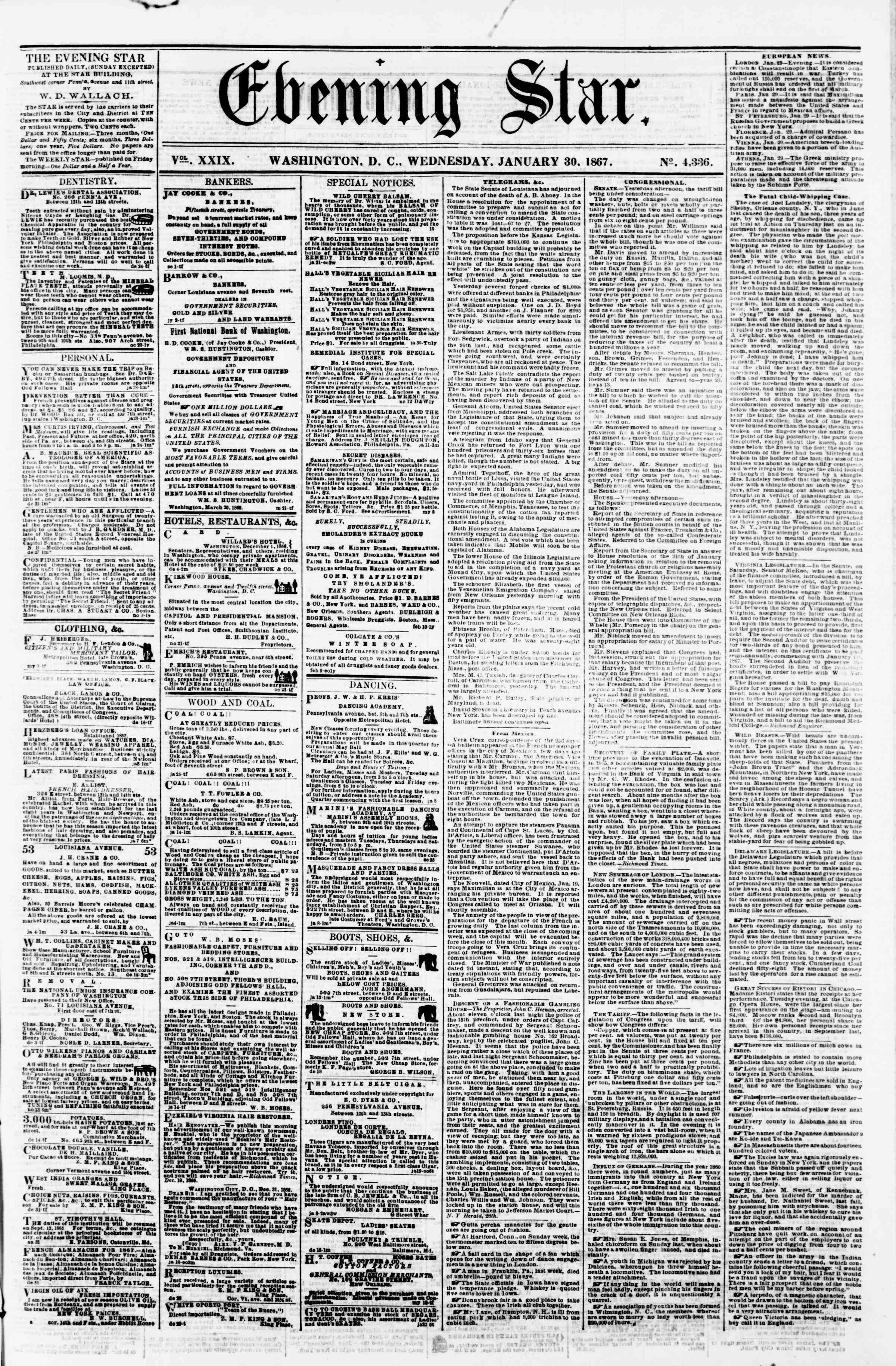 Newspaper of Evening Star dated January 30, 1867 Page 1