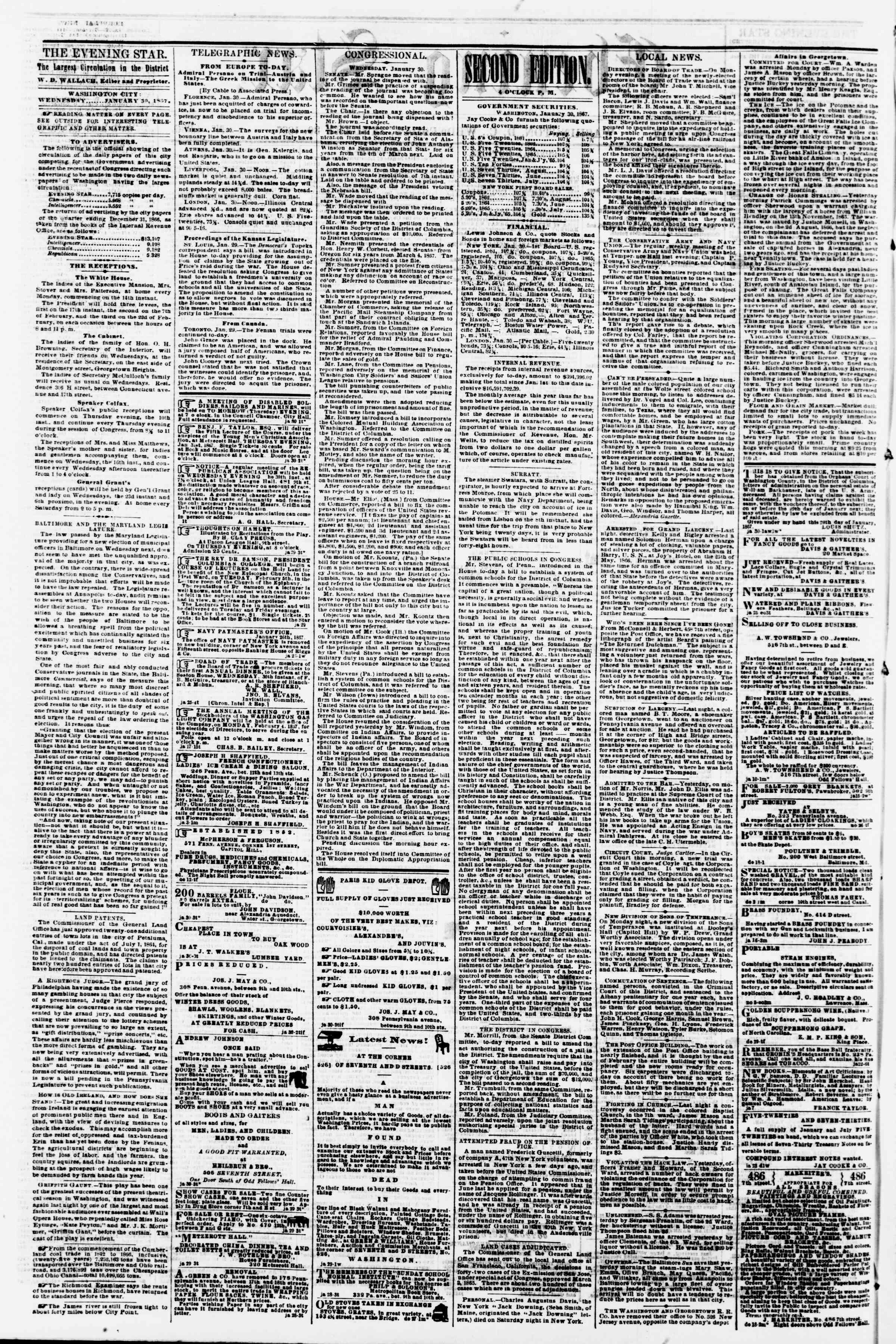 Newspaper of Evening Star dated January 30, 1867 Page 2