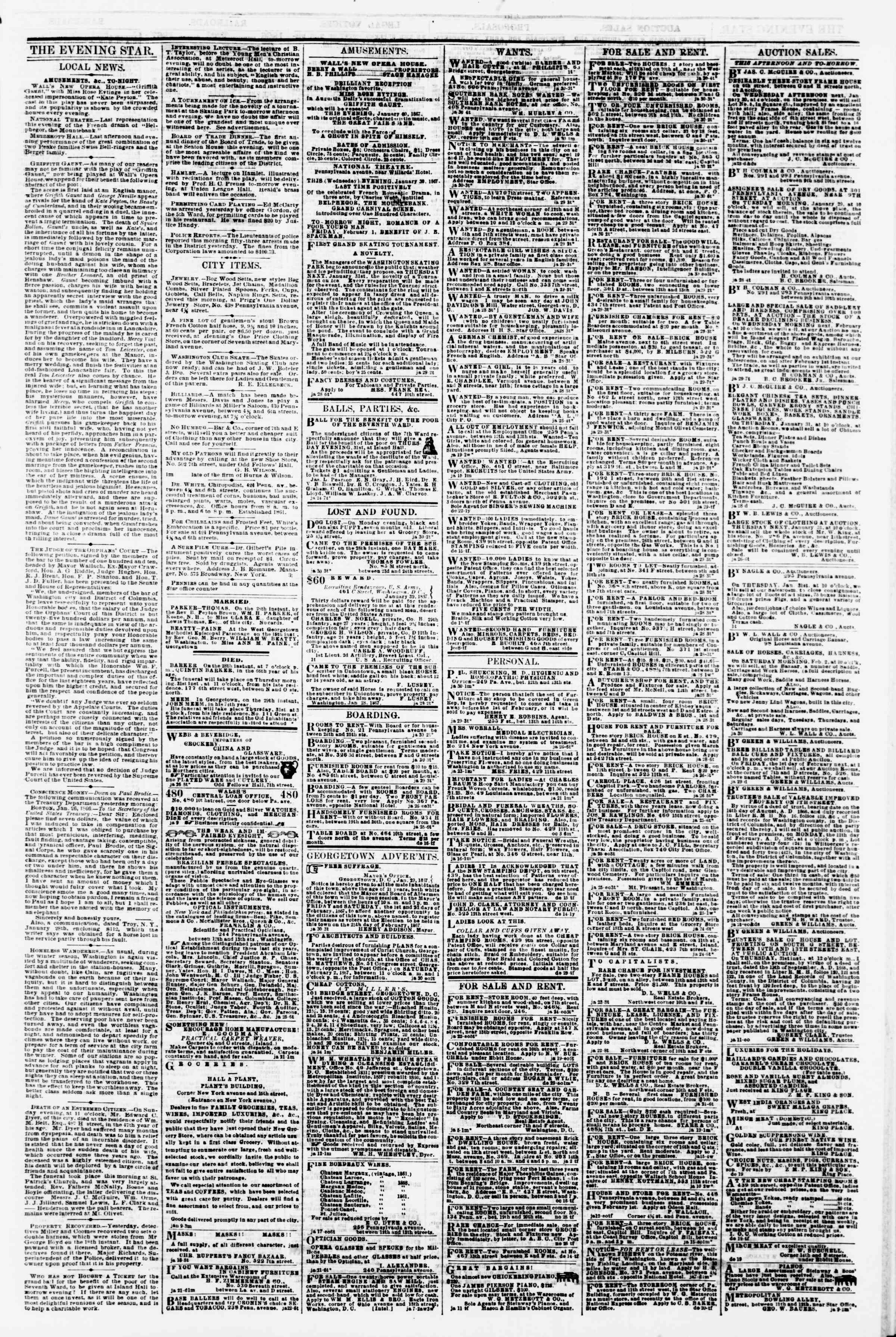 Newspaper of Evening Star dated January 30, 1867 Page 3