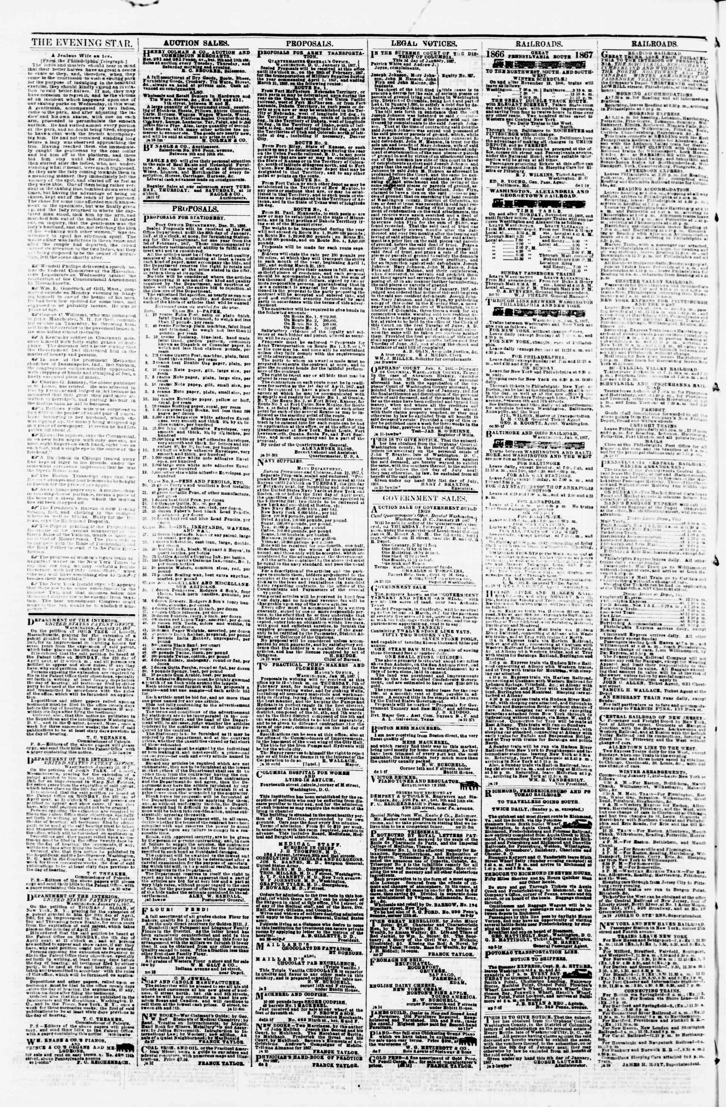 Newspaper of Evening Star dated January 30, 1867 Page 4