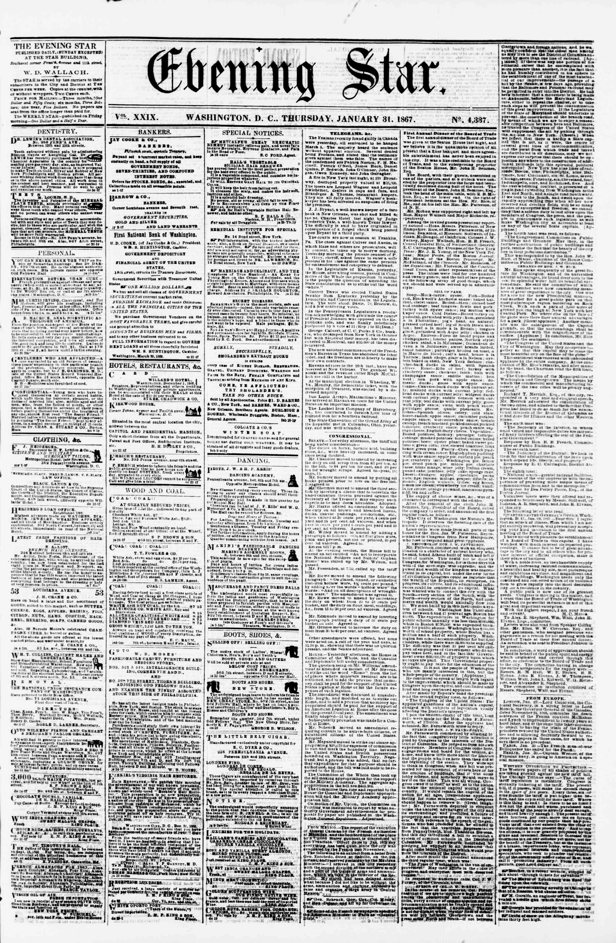 Newspaper of Evening Star dated January 31, 1867 Page 1