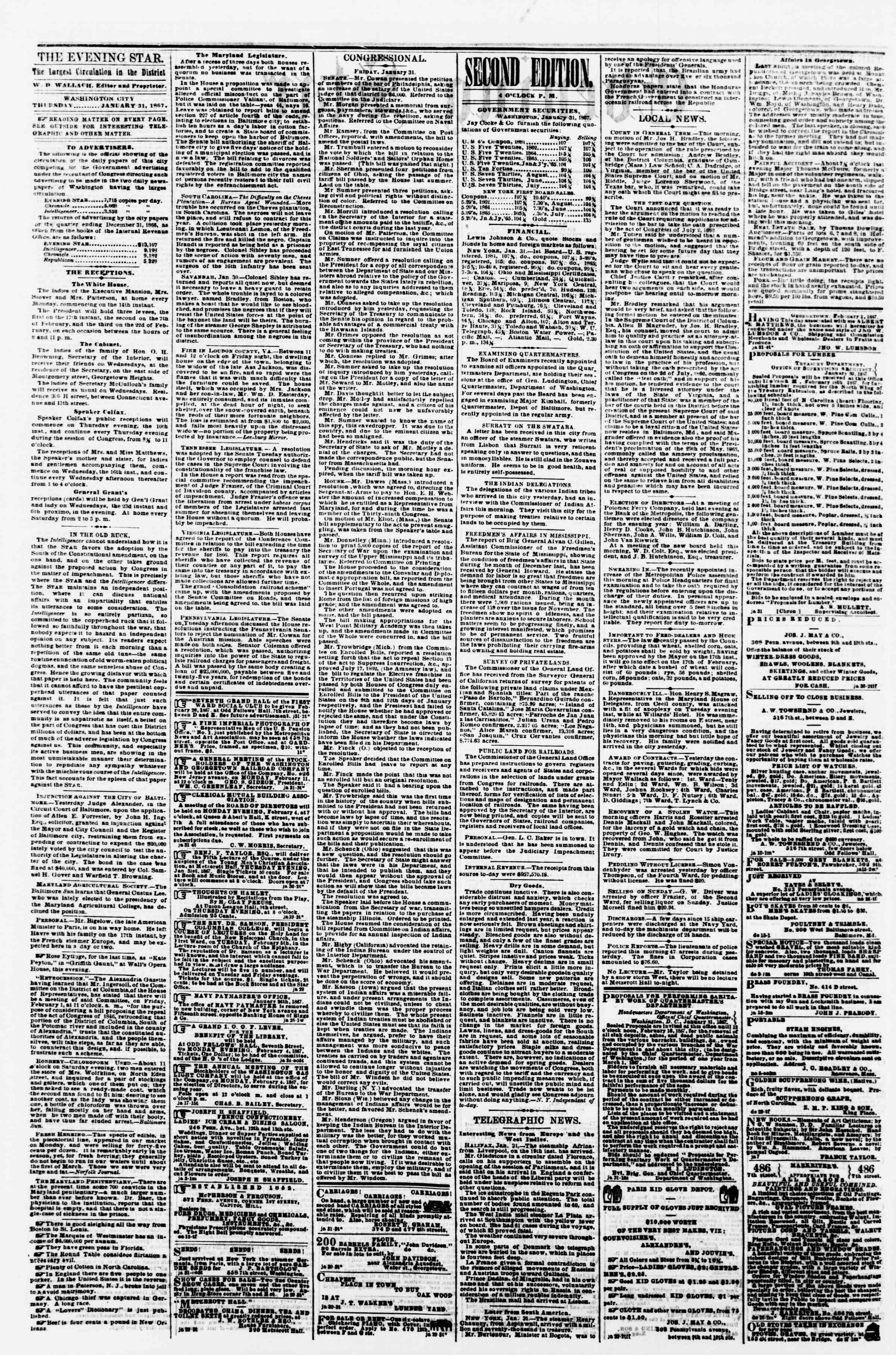 Newspaper of Evening Star dated January 31, 1867 Page 2