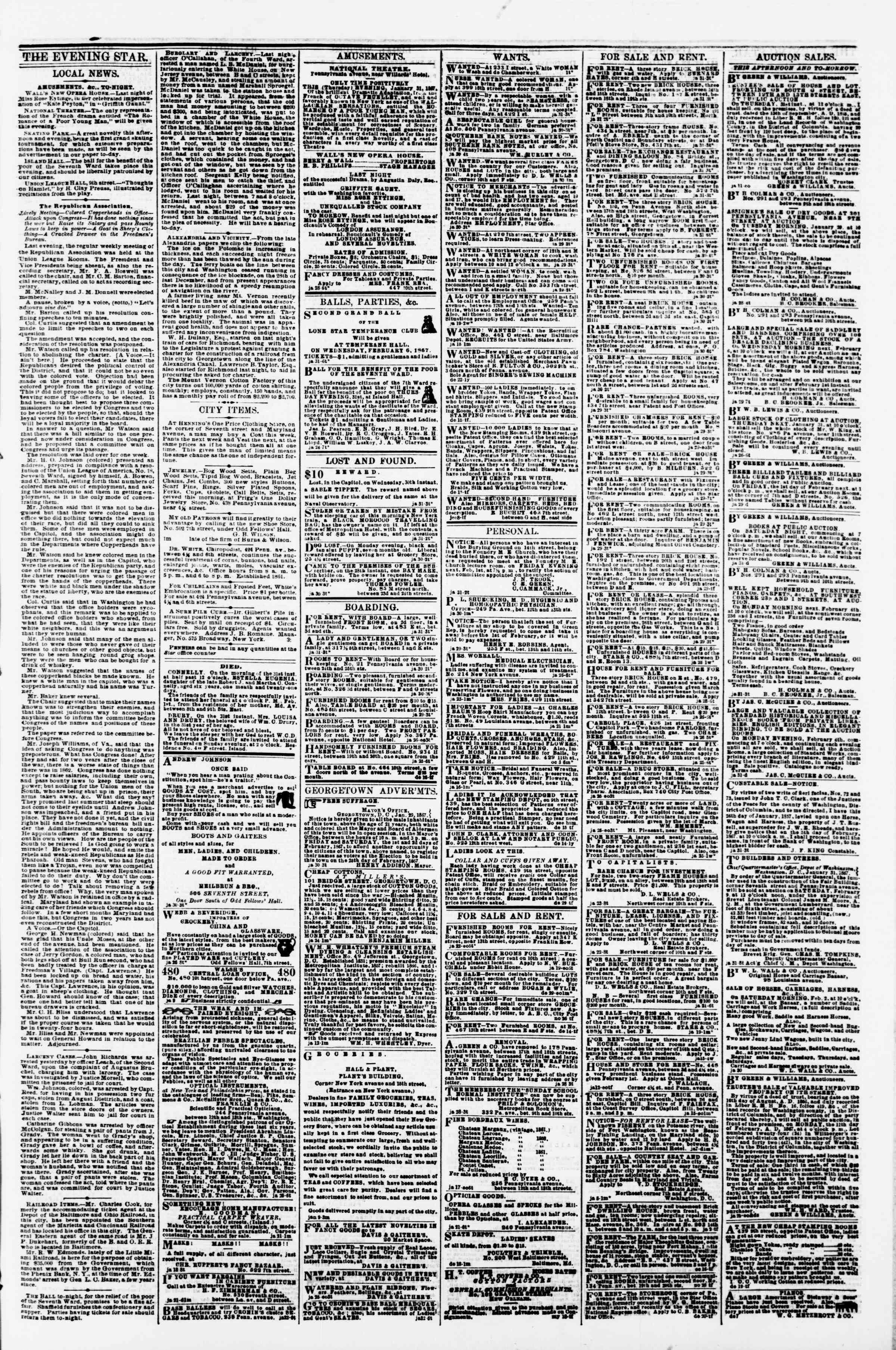 Newspaper of Evening Star dated January 31, 1867 Page 3