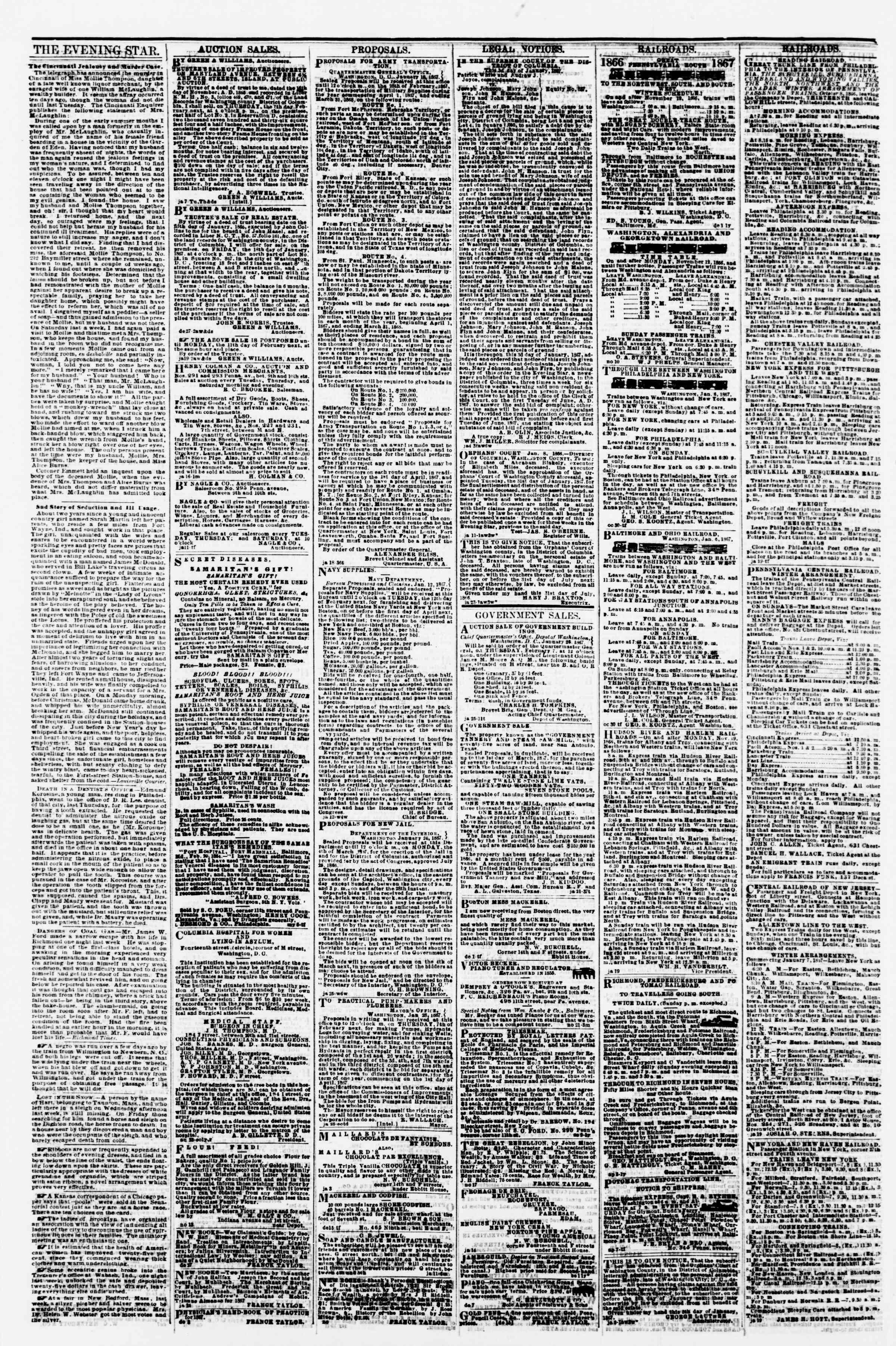 Newspaper of Evening Star dated January 31, 1867 Page 4