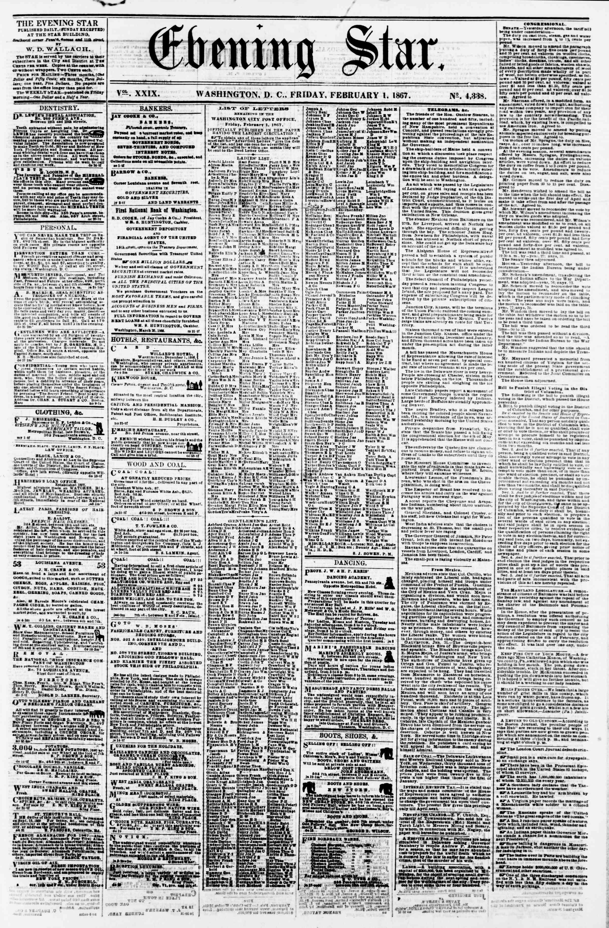 Newspaper of Evening Star dated February 1, 1867 Page 1