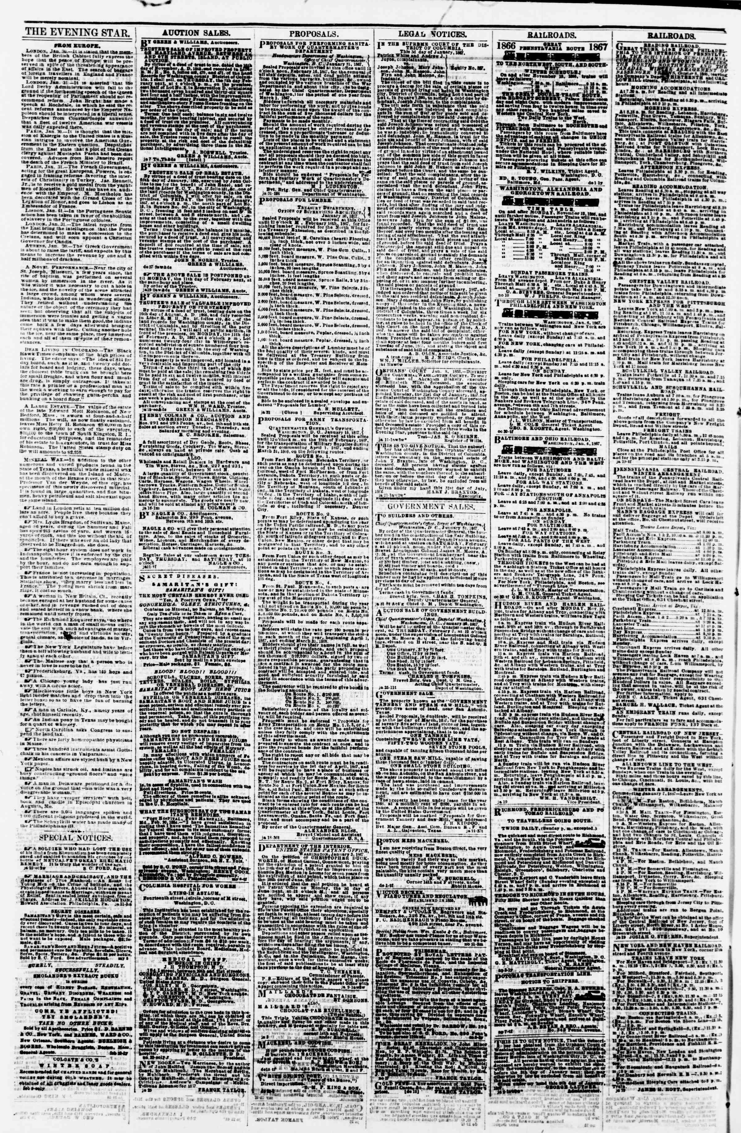 Newspaper of Evening Star dated February 1, 1867 Page 4