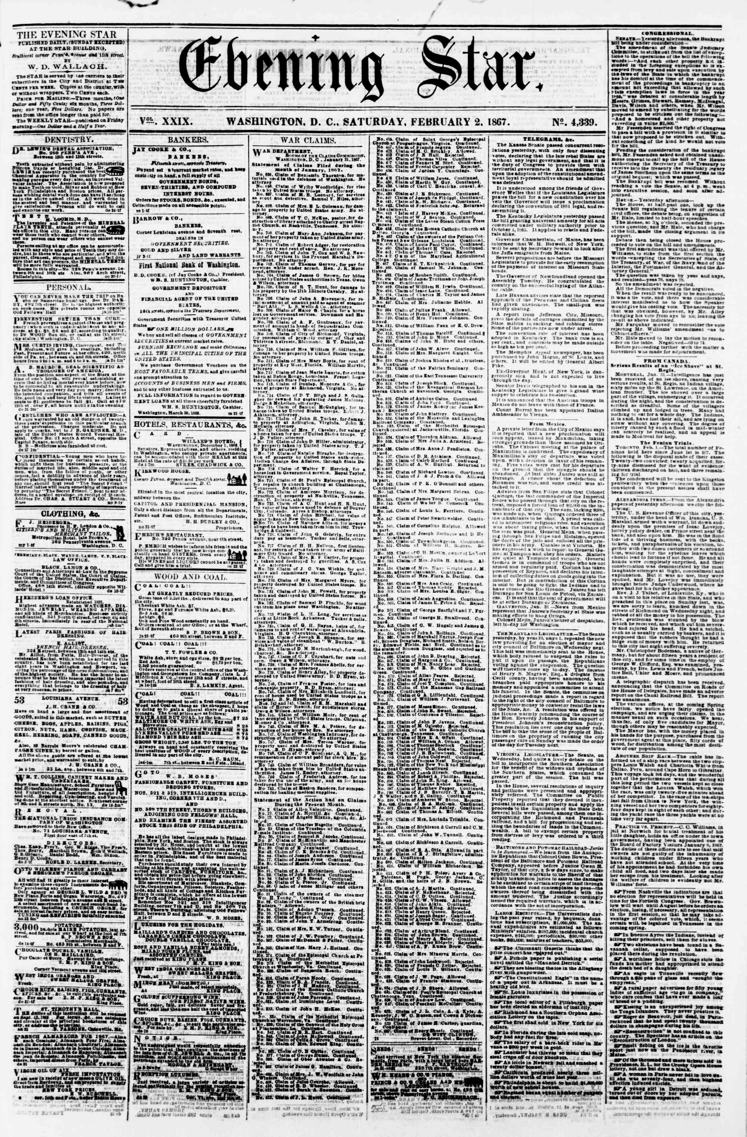 Newspaper of Evening Star dated February 2, 1867 Page 1