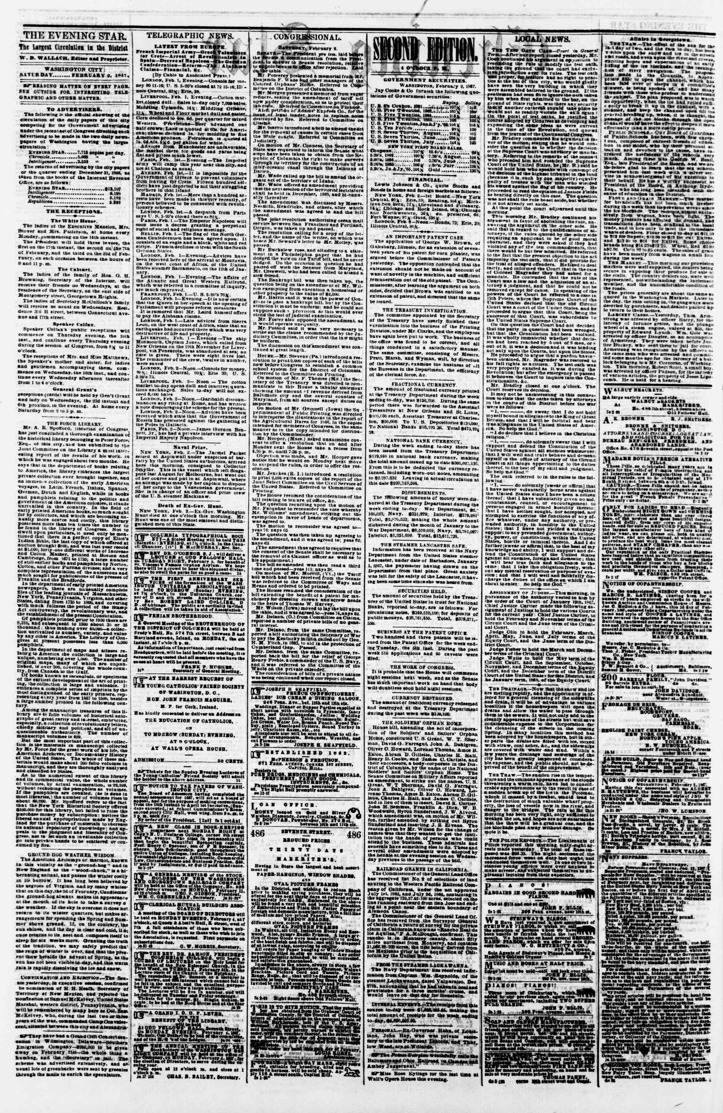 Newspaper of Evening Star dated February 2, 1867 Page 2