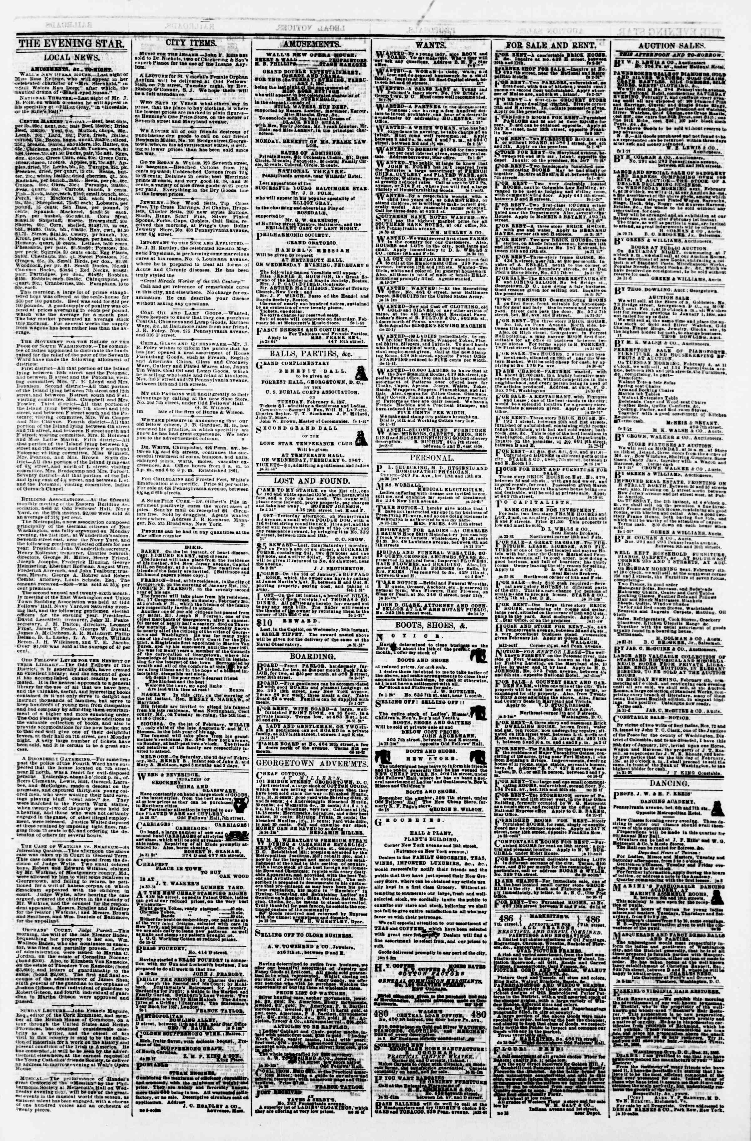 Newspaper of Evening Star dated February 2, 1867 Page 3