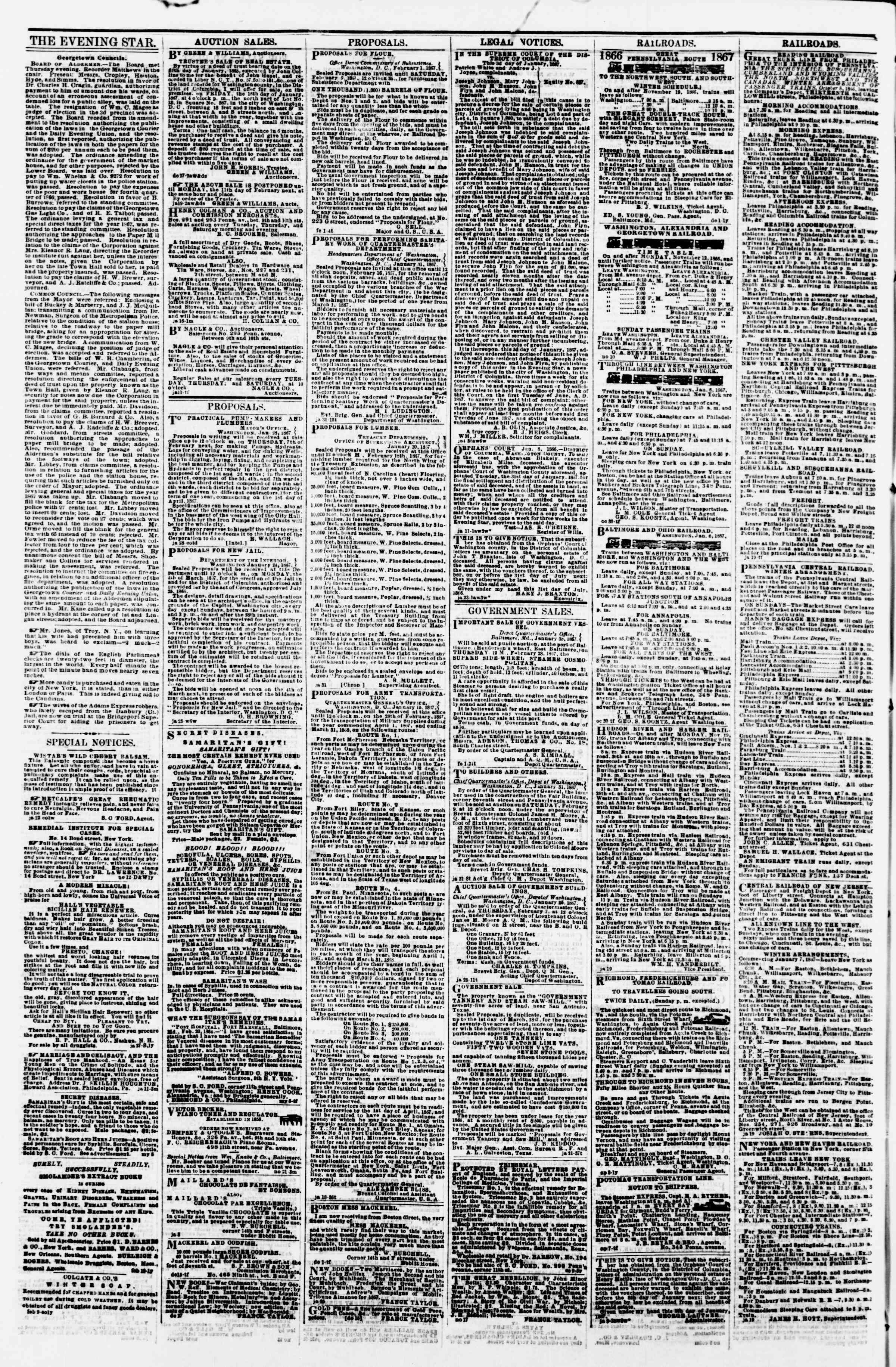 Newspaper of Evening Star dated February 2, 1867 Page 4
