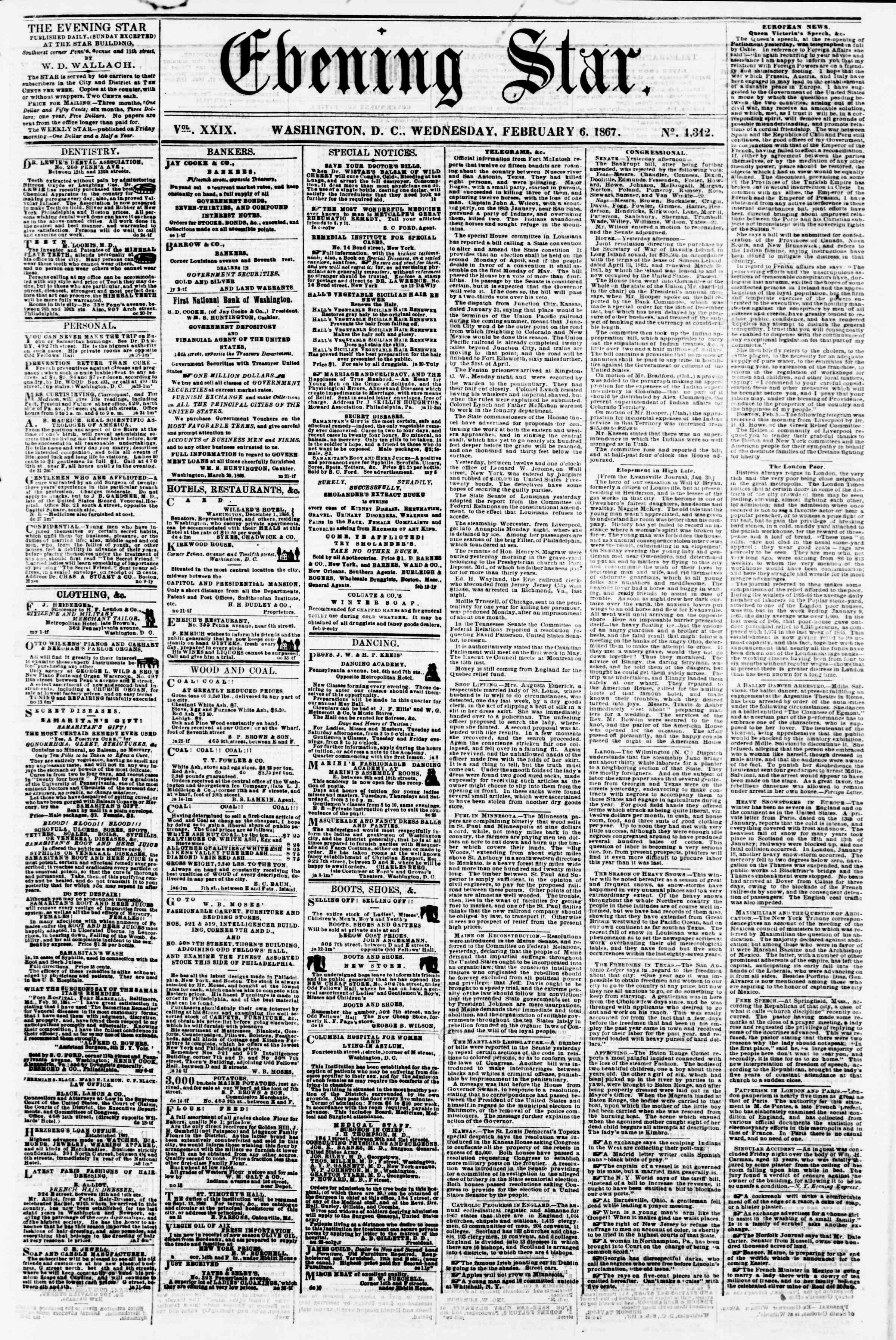 Newspaper of Evening Star dated February 6, 1867 Page 1