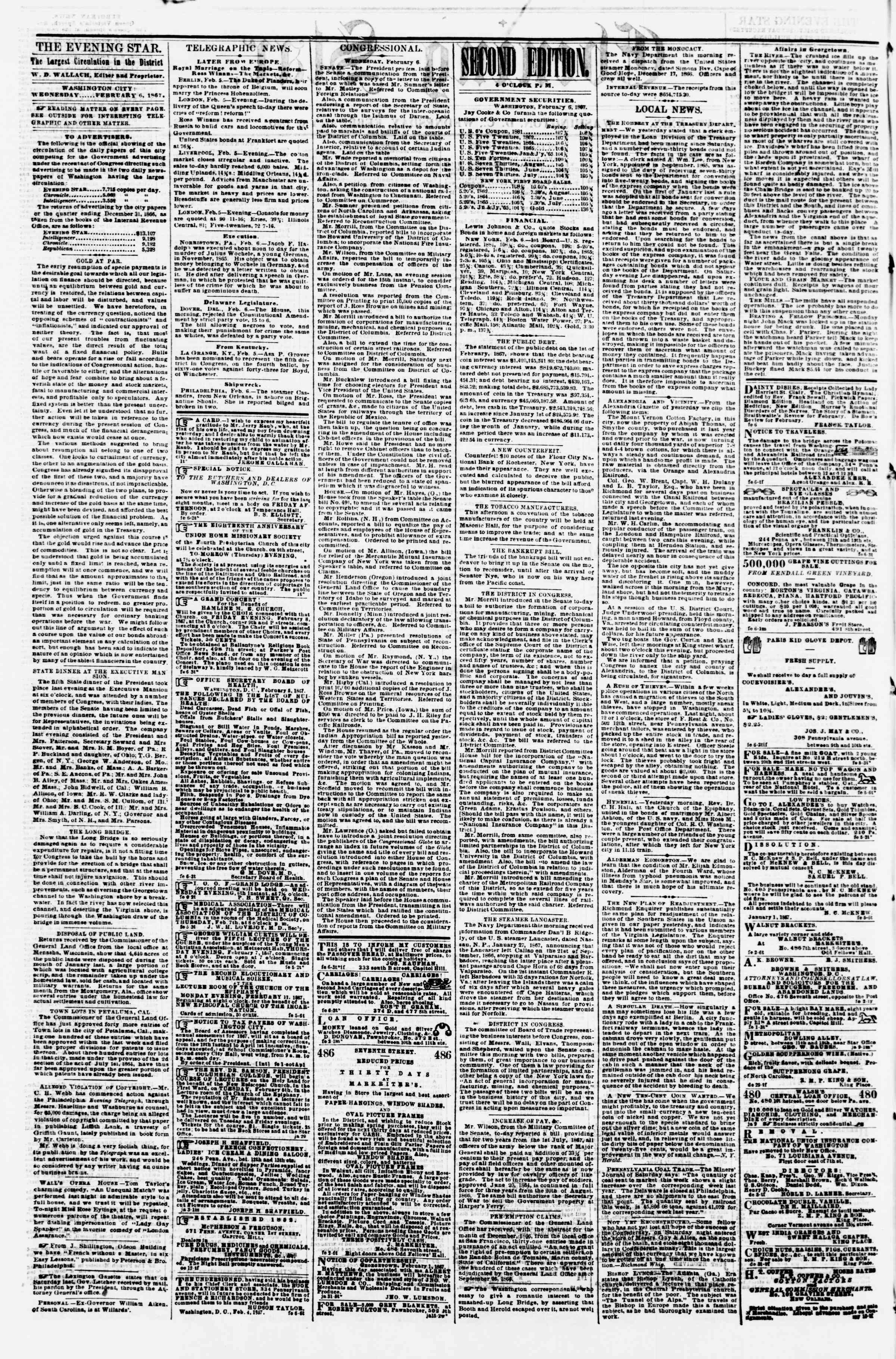 Newspaper of Evening Star dated February 6, 1867 Page 2