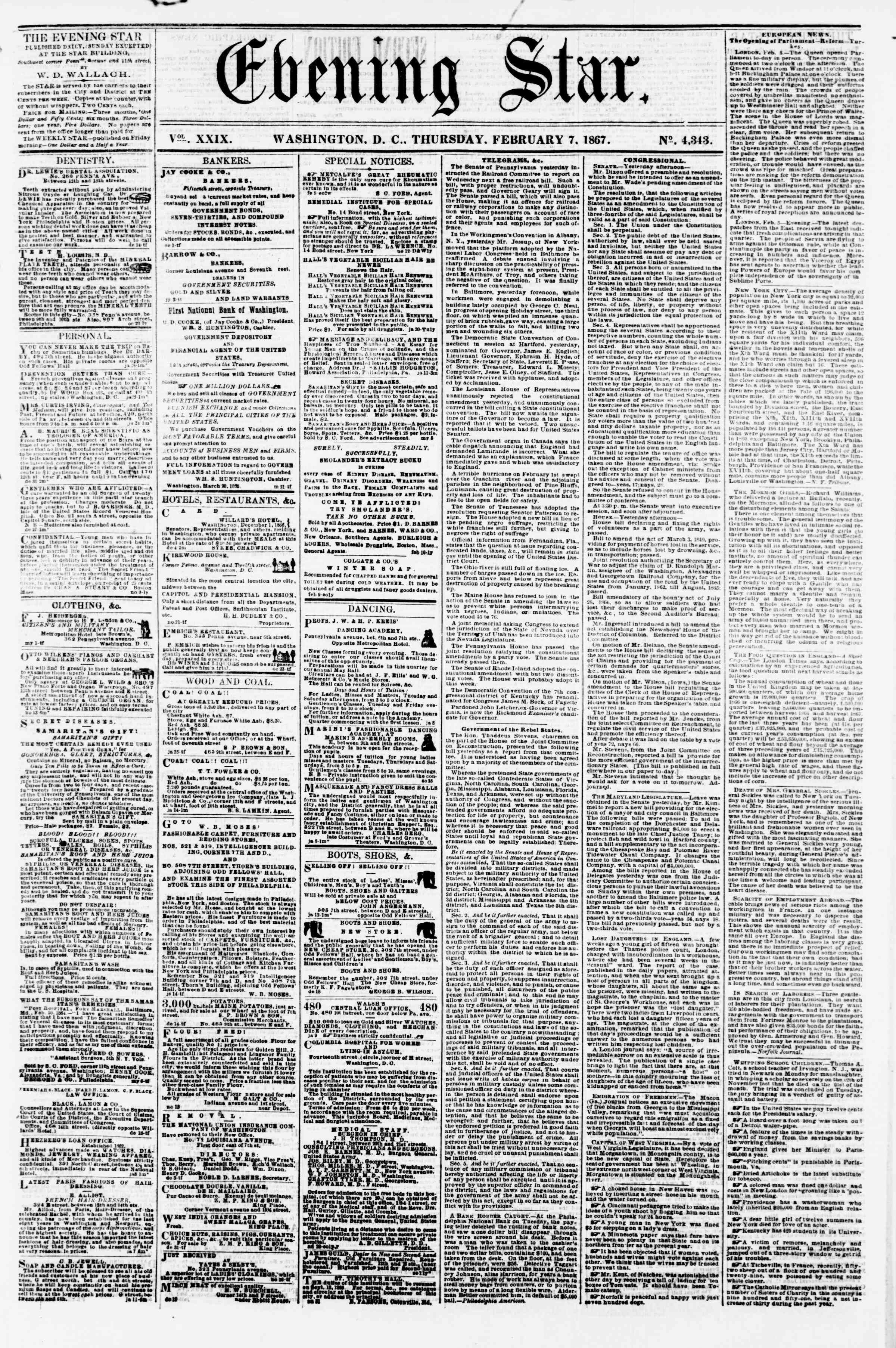 Newspaper of Evening Star dated February 7, 1867 Page 1