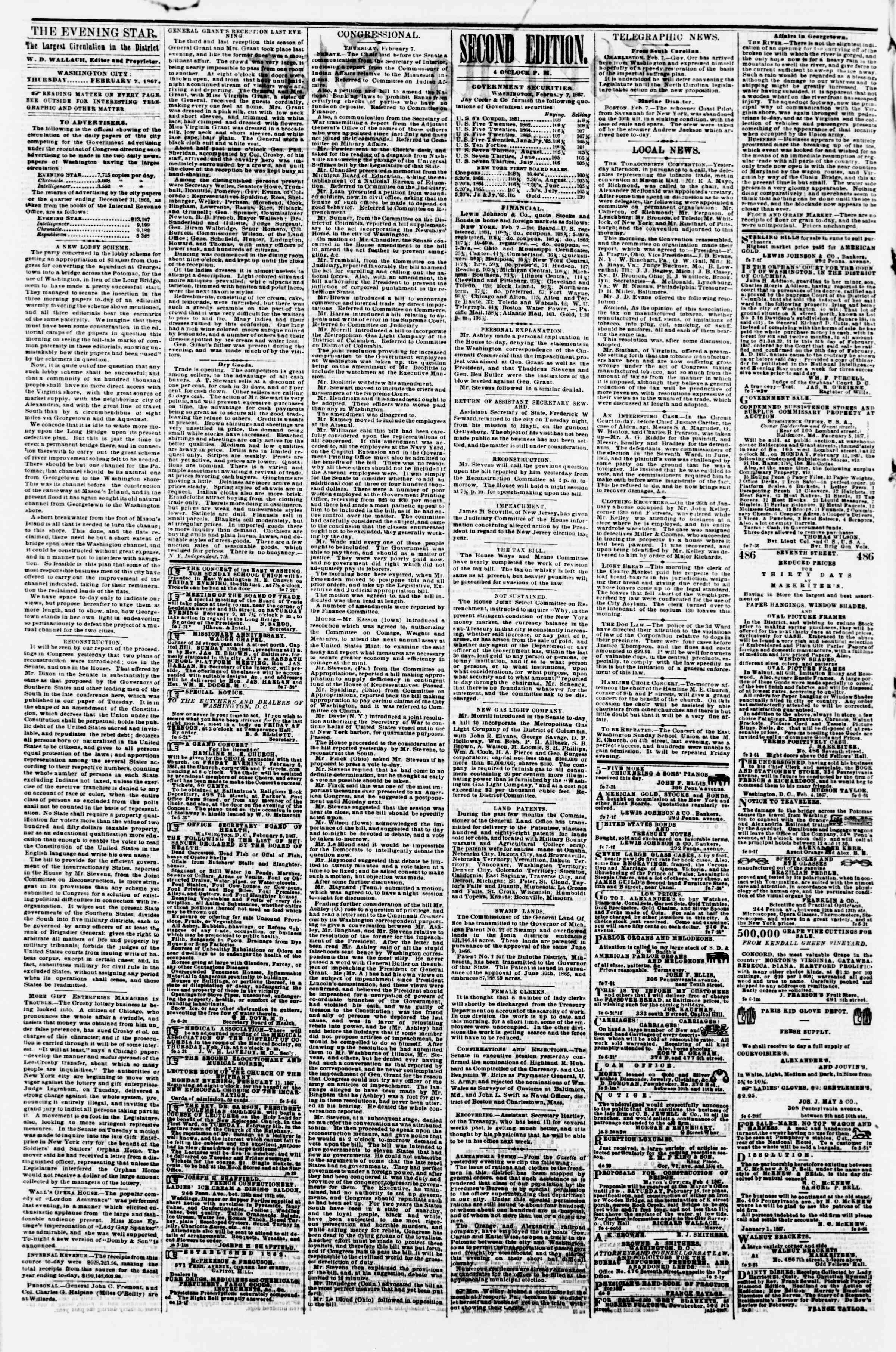 Newspaper of Evening Star dated February 7, 1867 Page 2