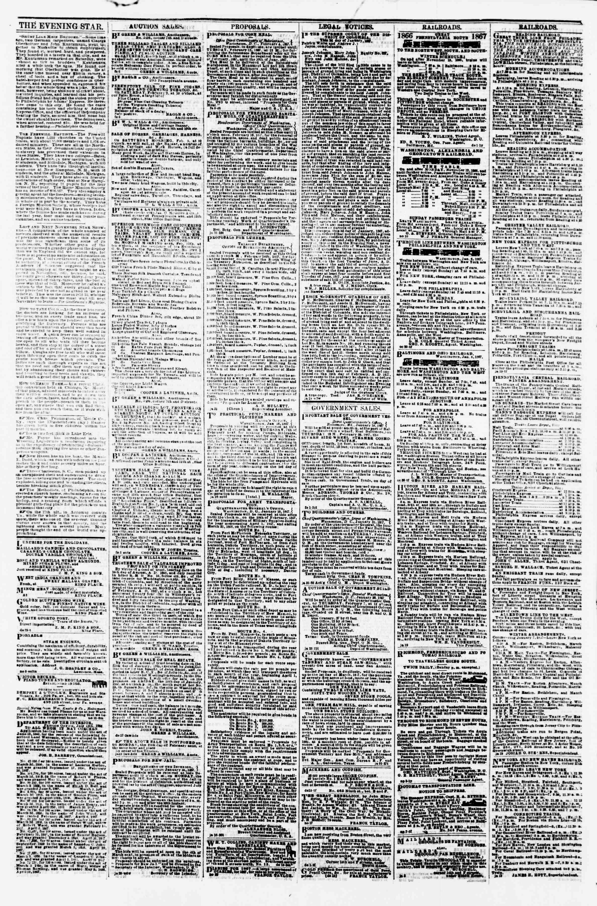 Newspaper of Evening Star dated February 7, 1867 Page 4