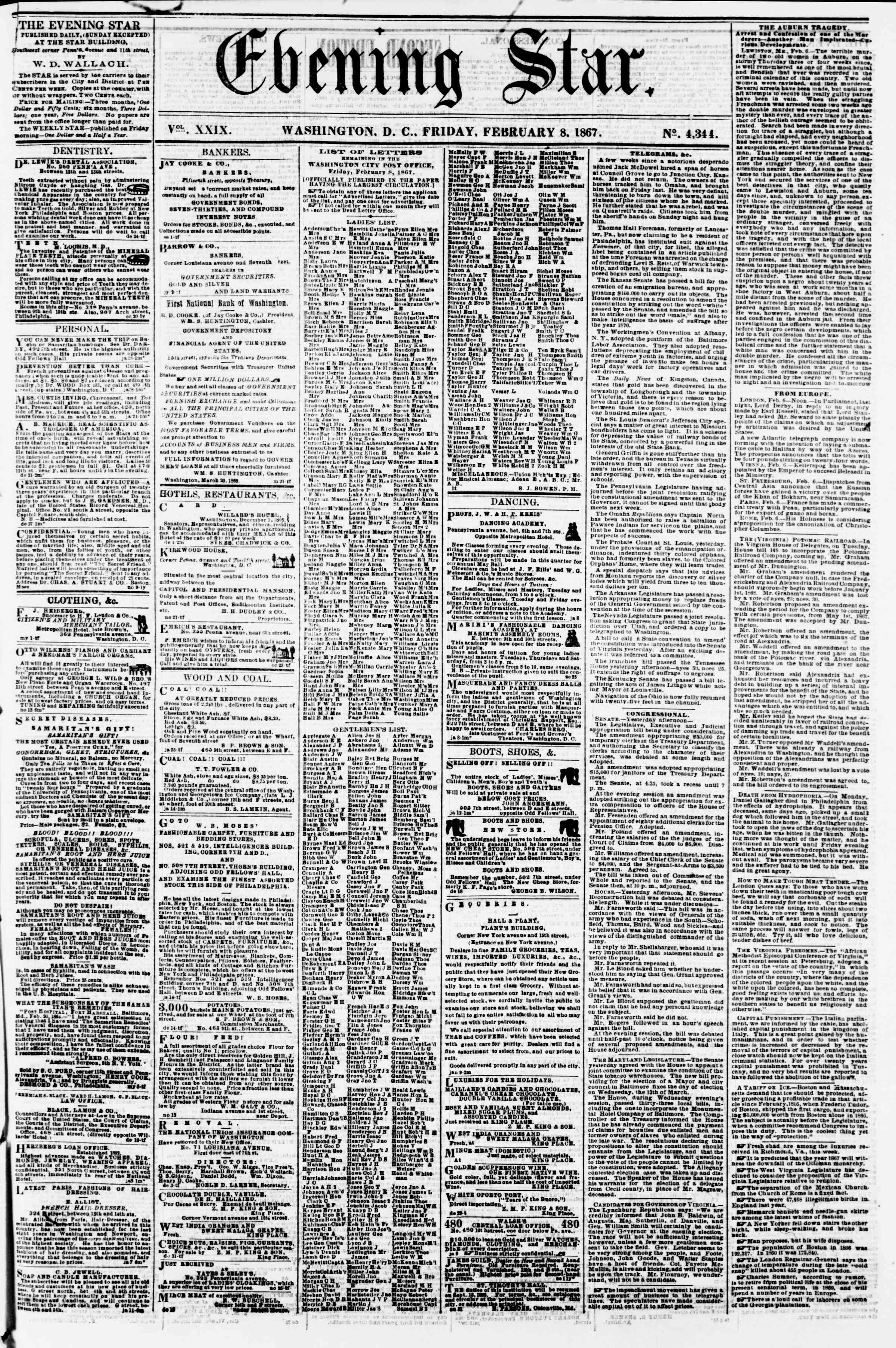 Newspaper of Evening Star dated February 8, 1867 Page 1