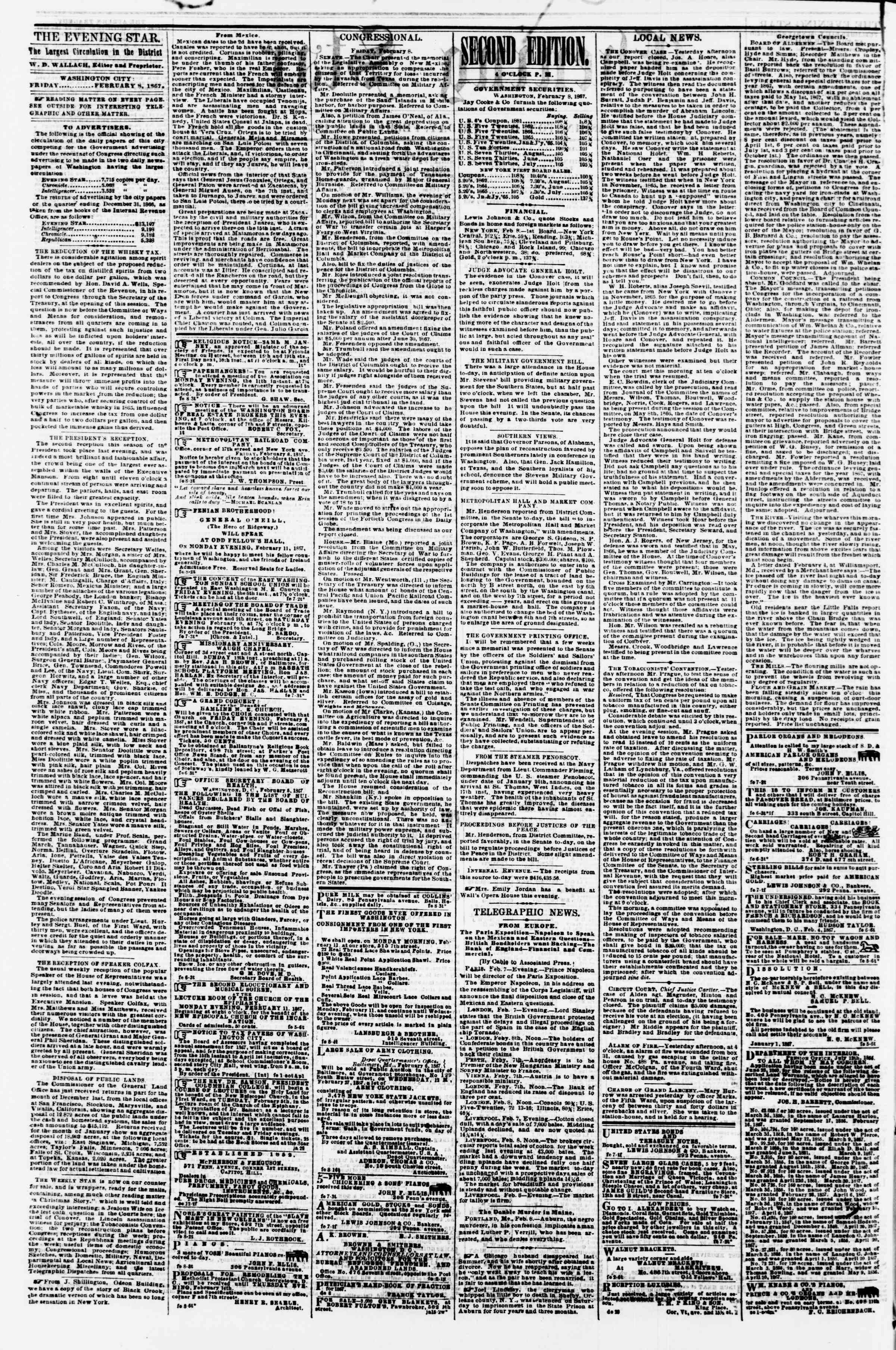 Newspaper of Evening Star dated February 8, 1867 Page 2