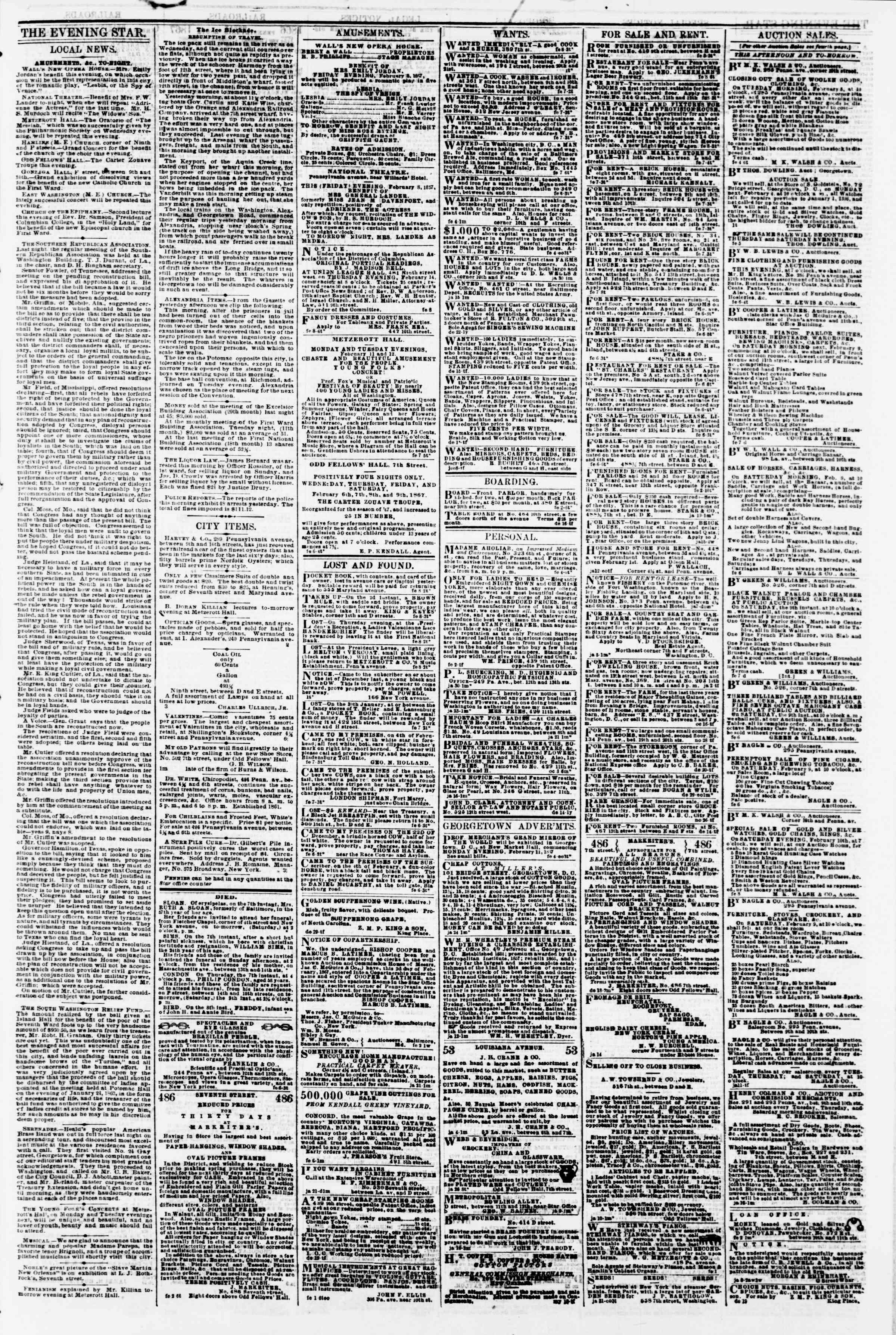 Newspaper of Evening Star dated February 8, 1867 Page 3