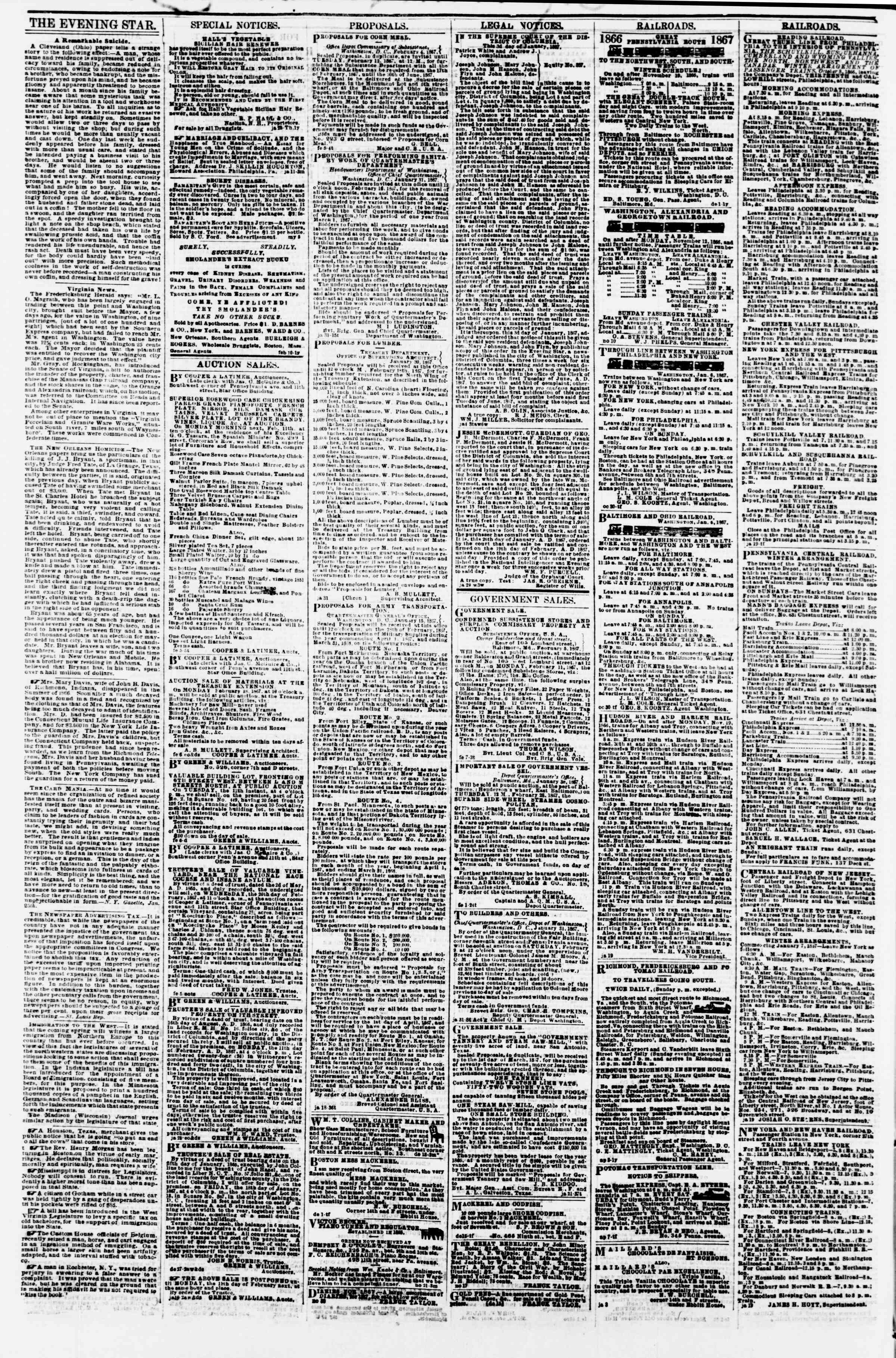 Newspaper of Evening Star dated February 8, 1867 Page 4