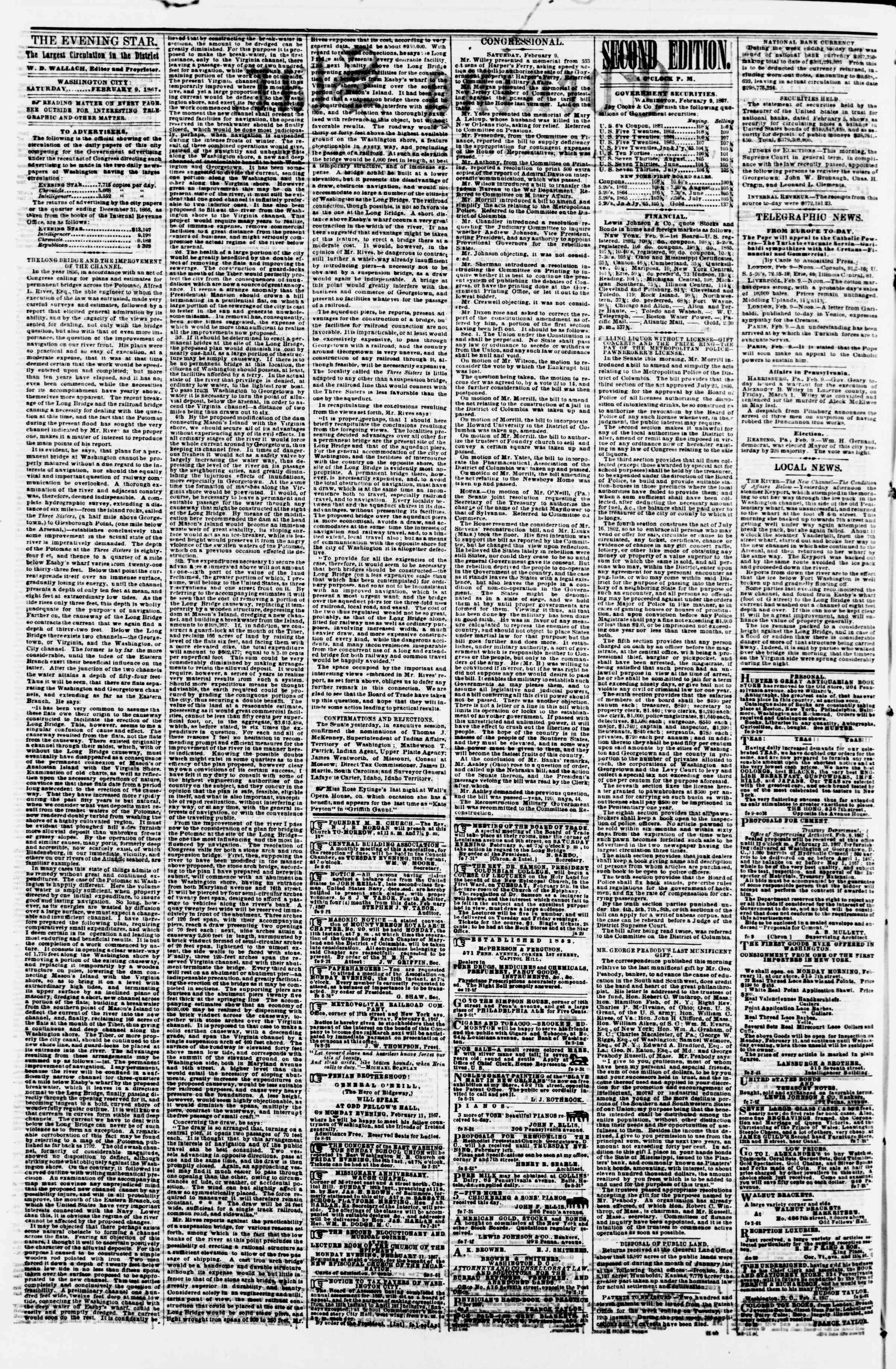 Newspaper of Evening Star dated February 9, 1867 Page 2