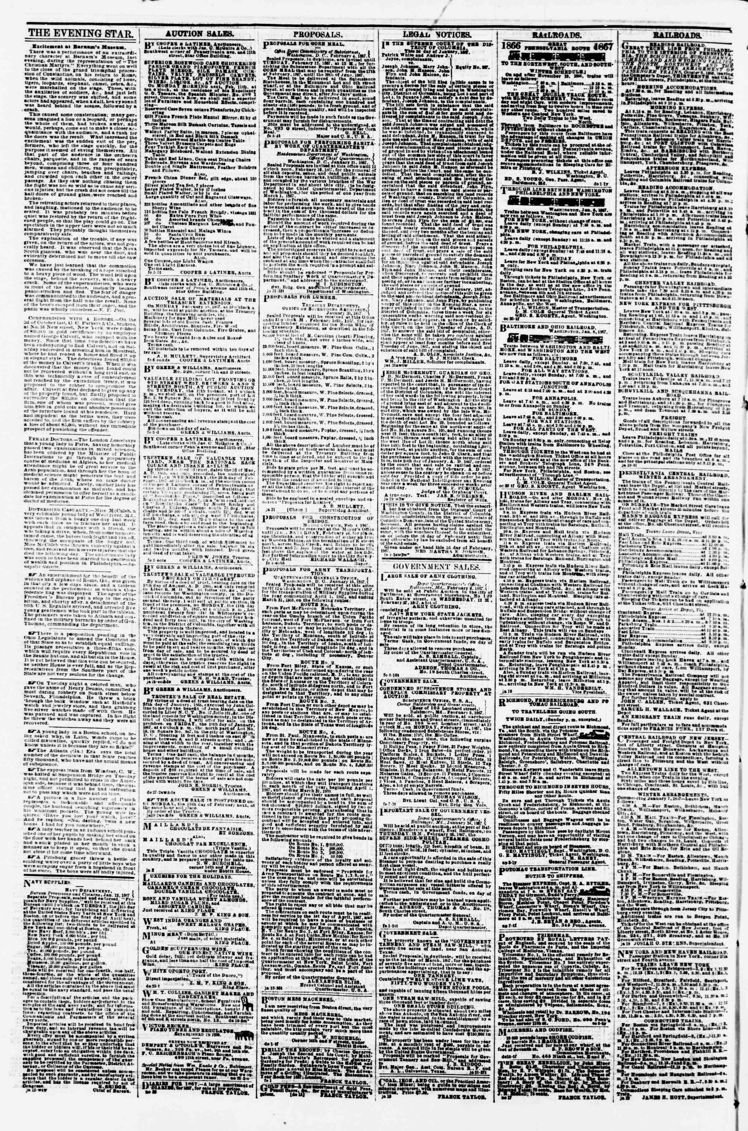 Newspaper of Evening Star dated February 9, 1867 Page 4