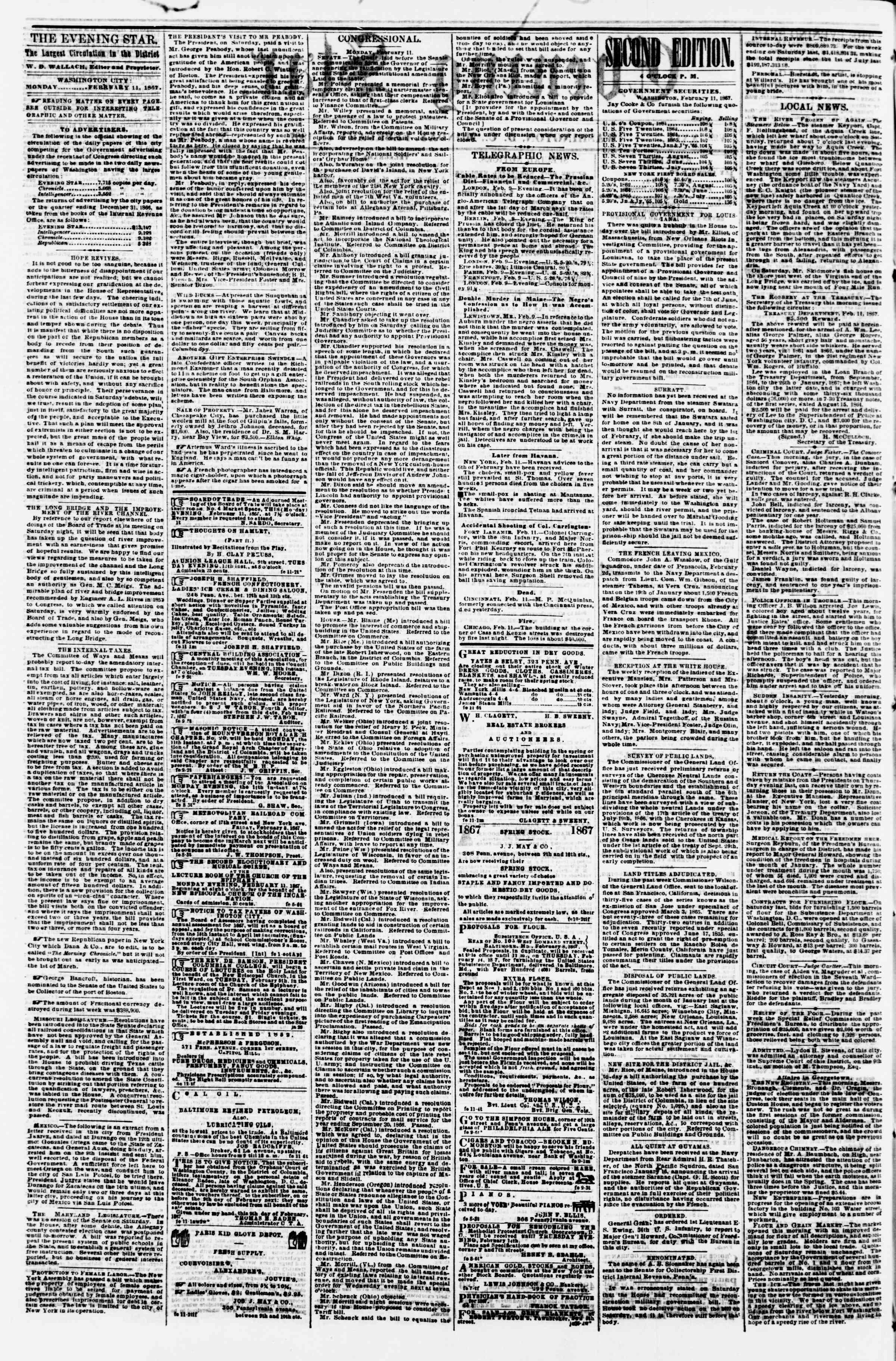 Newspaper of Evening Star dated February 11, 1867 Page 2