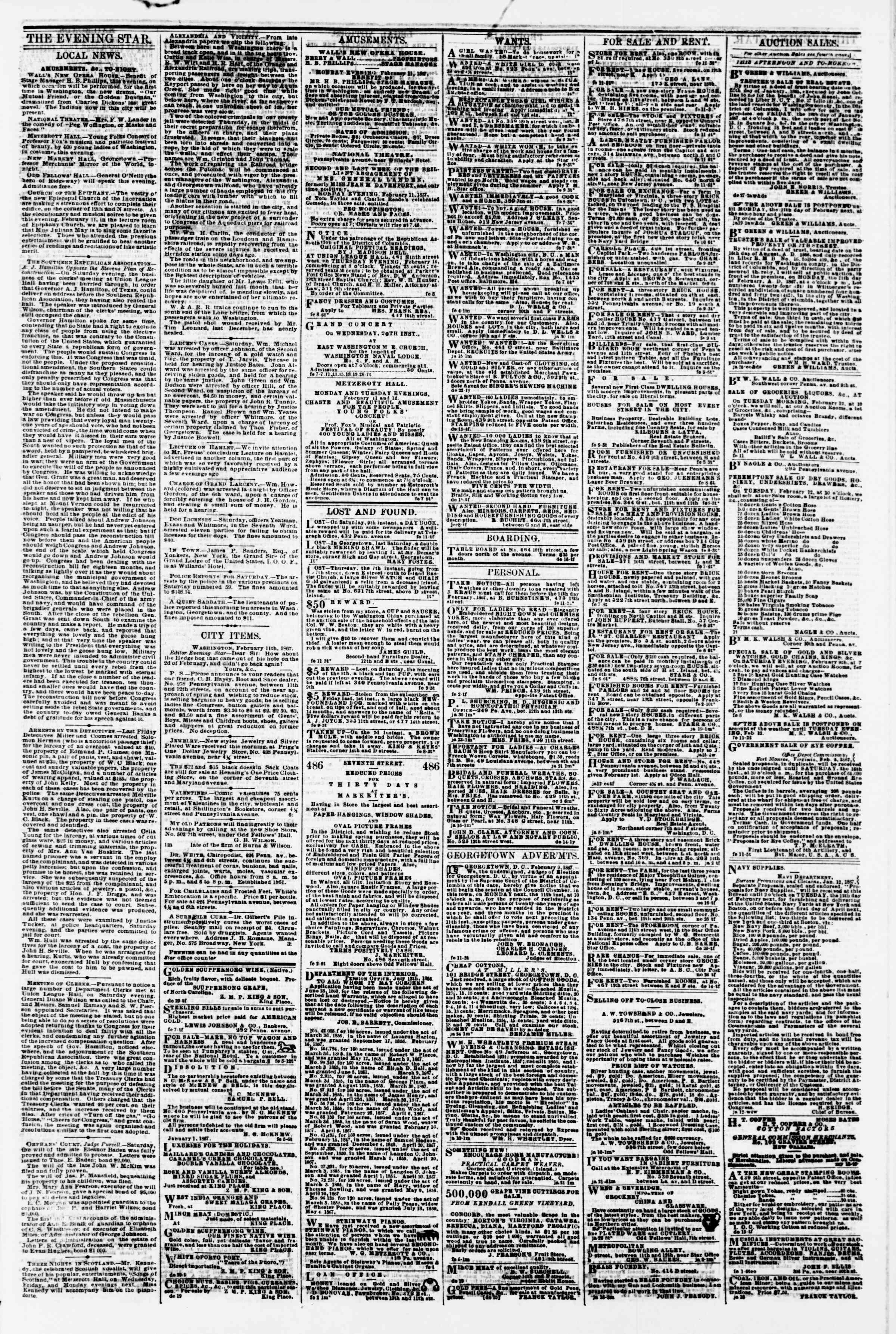 Newspaper of Evening Star dated February 11, 1867 Page 3