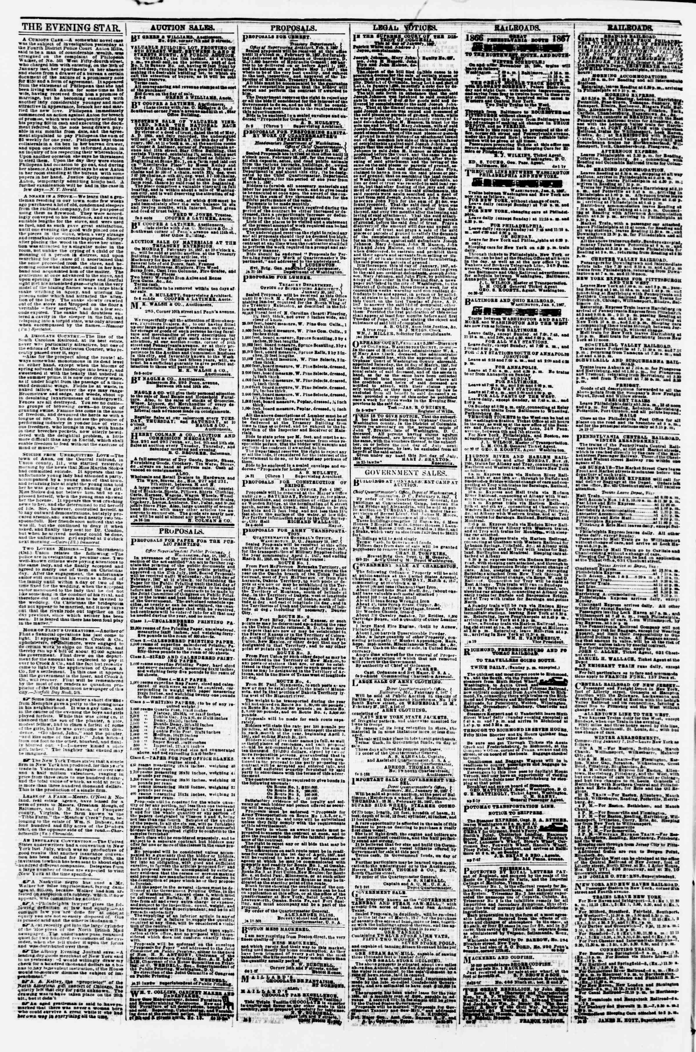 Newspaper of Evening Star dated February 11, 1867 Page 4