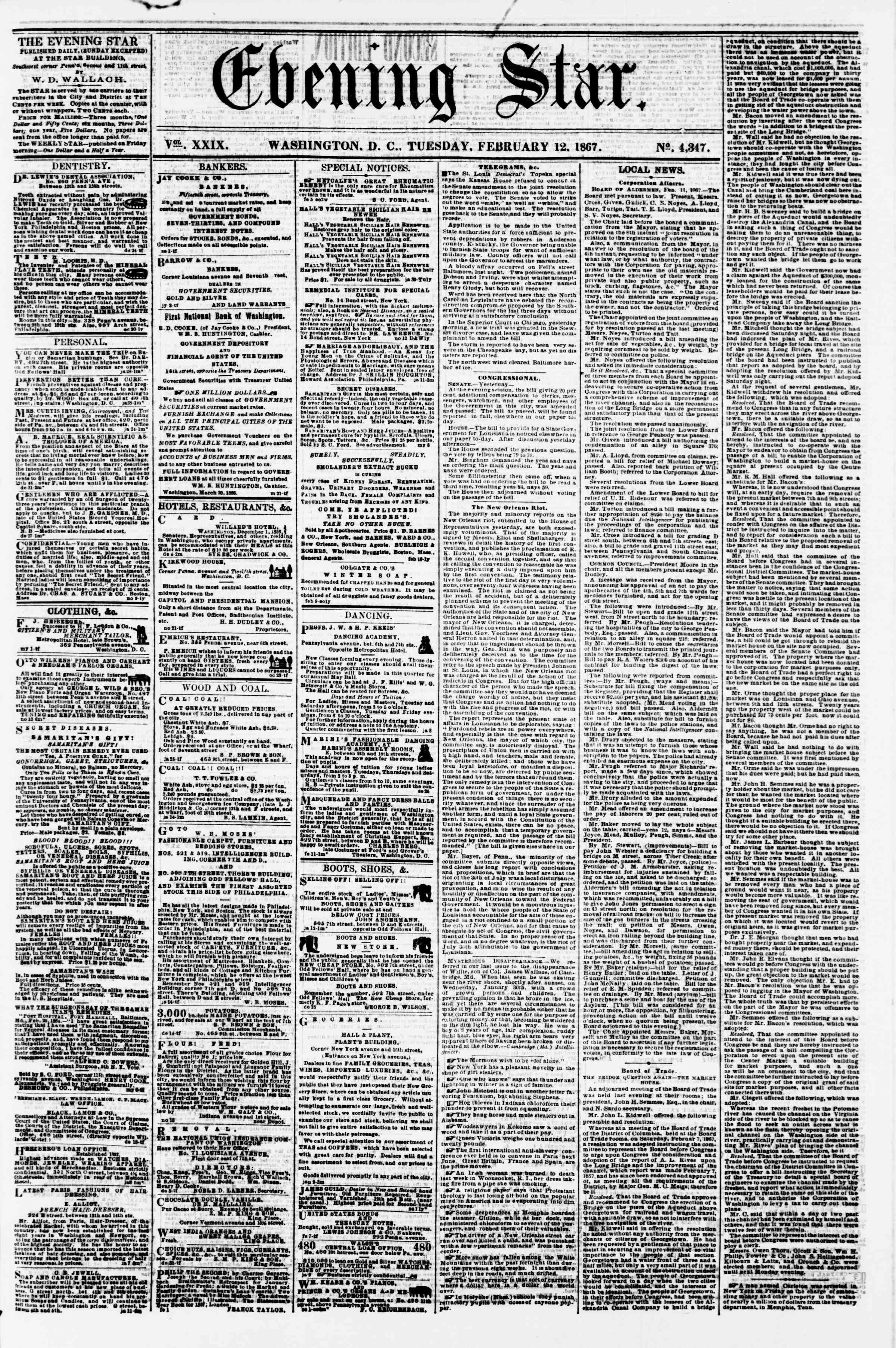 Newspaper of Evening Star dated February 12, 1867 Page 1