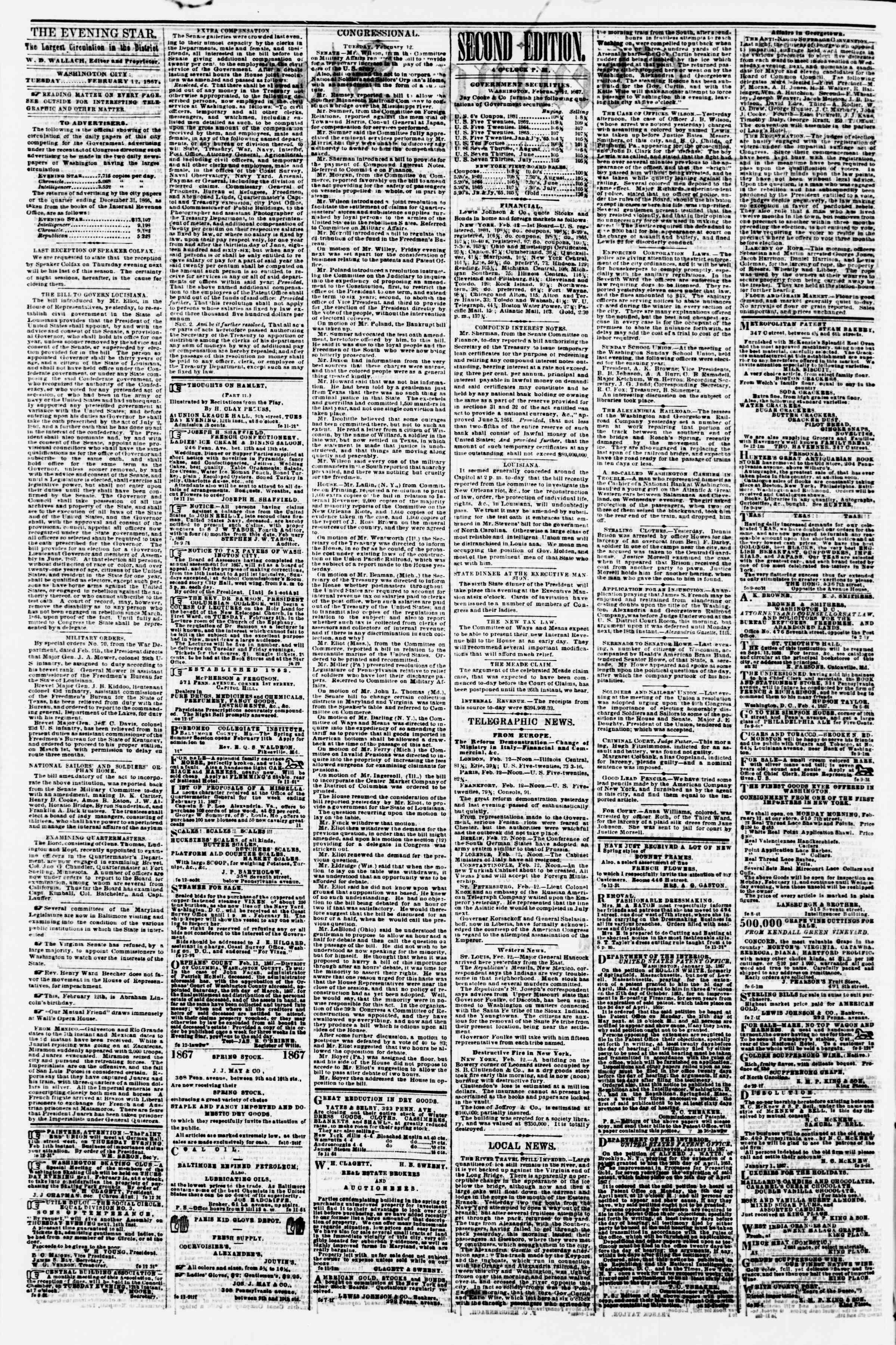Newspaper of Evening Star dated February 12, 1867 Page 2