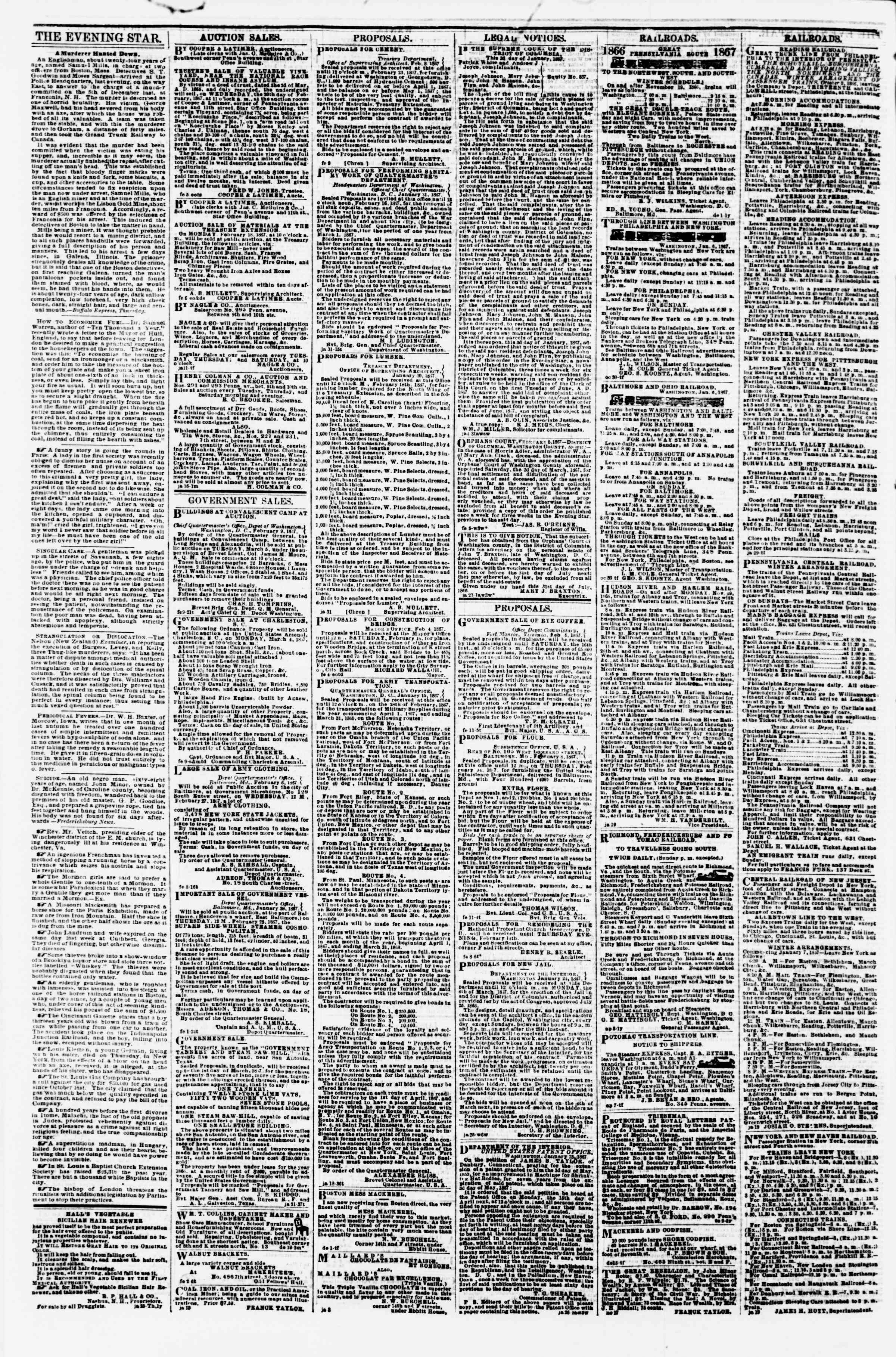 Newspaper of Evening Star dated February 12, 1867 Page 4
