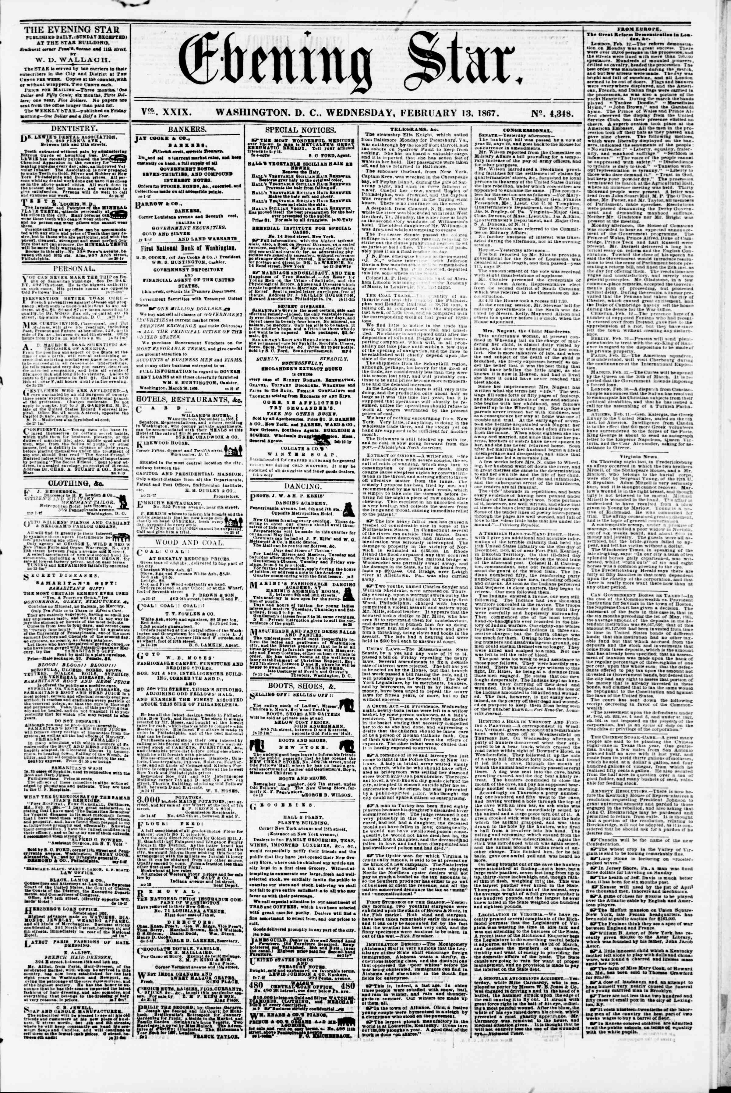 Newspaper of Evening Star dated February 13, 1867 Page 1