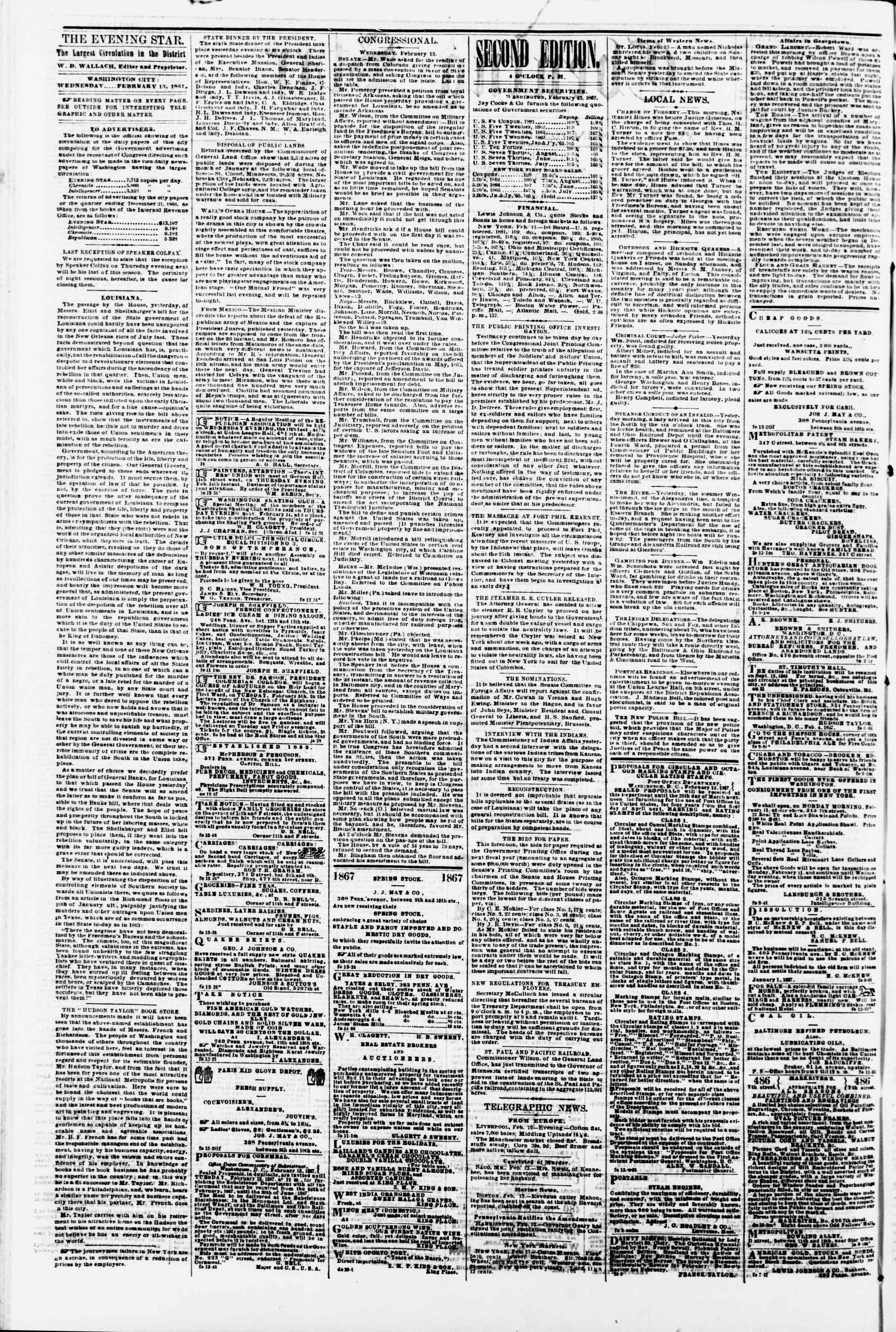 Newspaper of Evening Star dated February 13, 1867 Page 2